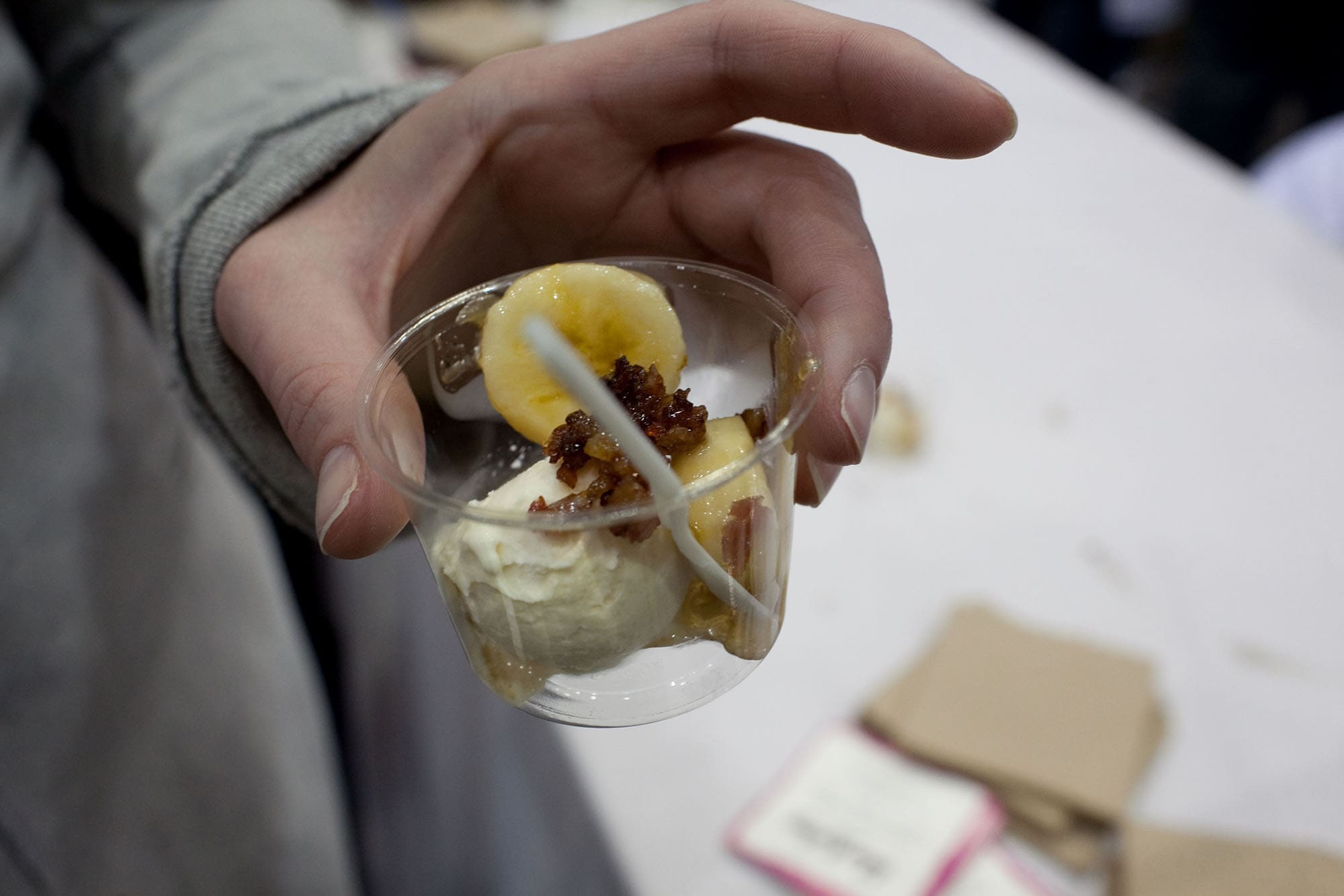 Banana and Bacon's Foster from Black Dog Gelato at Baconfest Chicago
