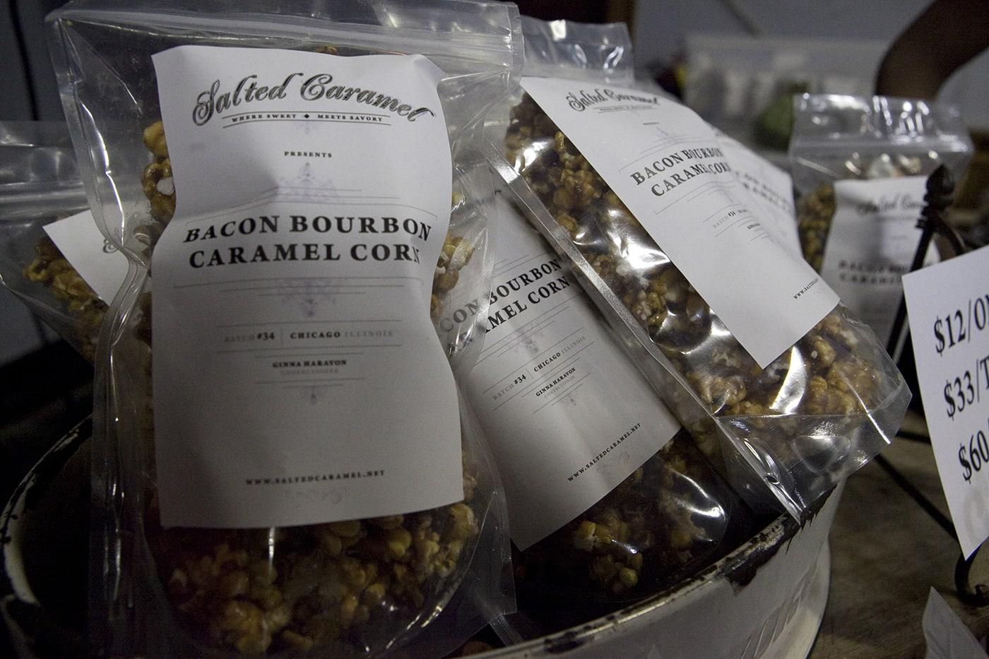 Bacon Bourbon Caramel popcorn at Baconfest Chicago - a bacon festival