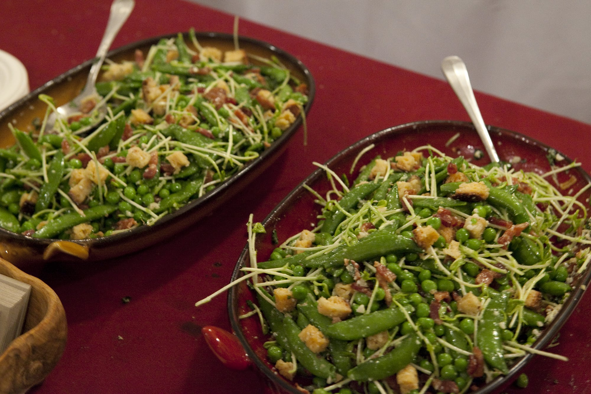 Spring pea bacon and pecorino salad from The Purple Pig at Baconfest Chicago - a bacon festival