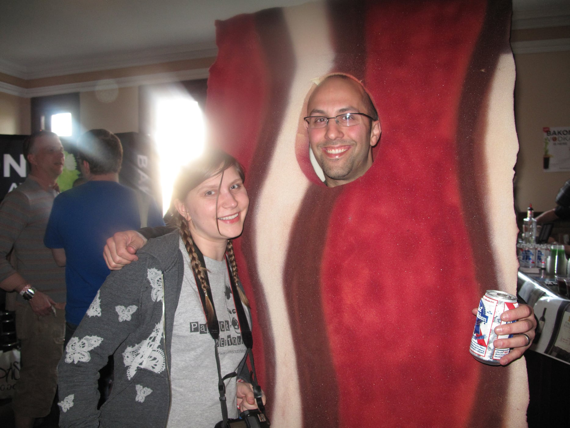 Me and a piece of bacon at Baconfest Chicago - a bacon festival