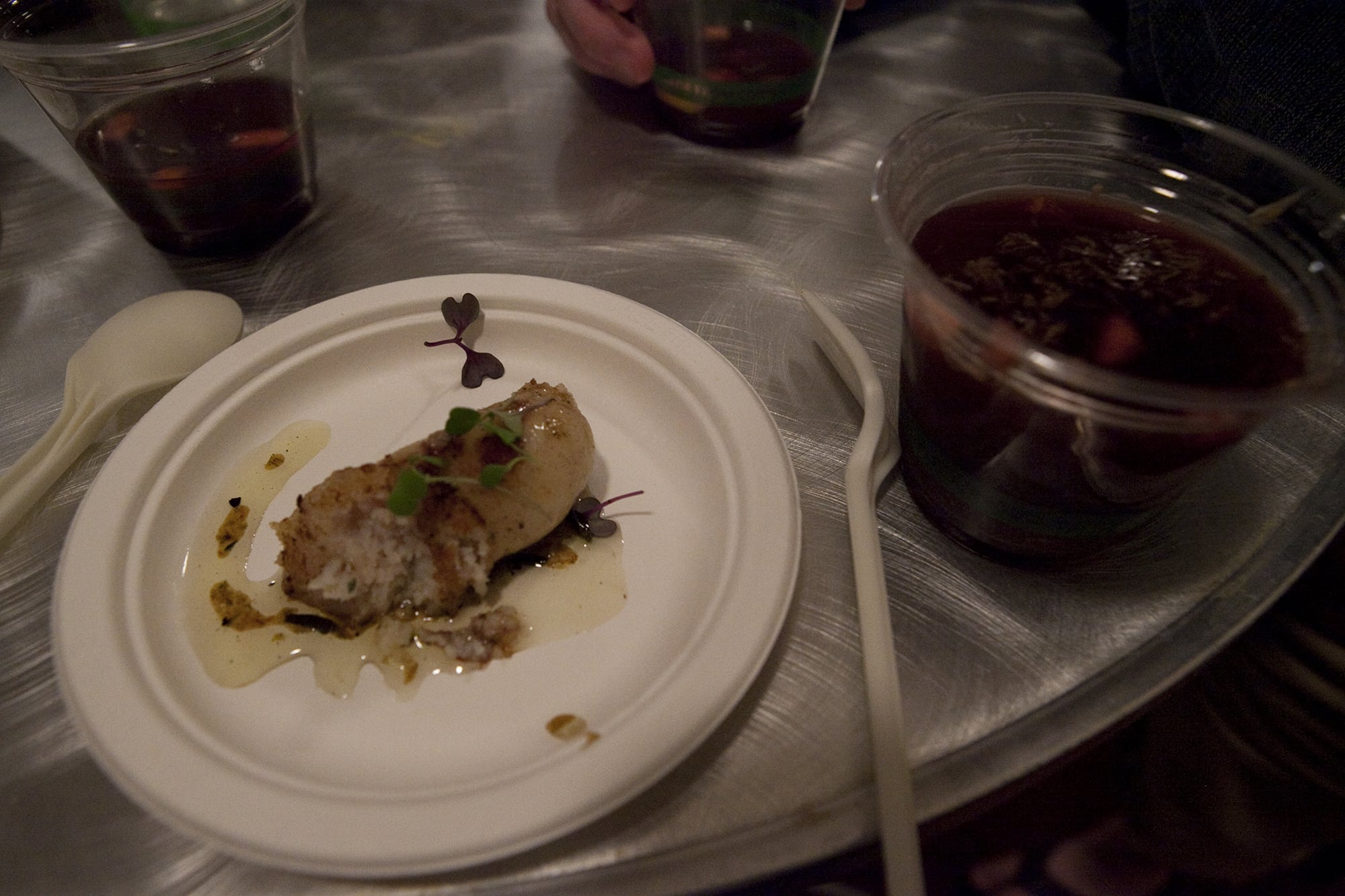 Bacon and cod sausage from Eve Restaurant at Baconfest Chicago - a bacon festival