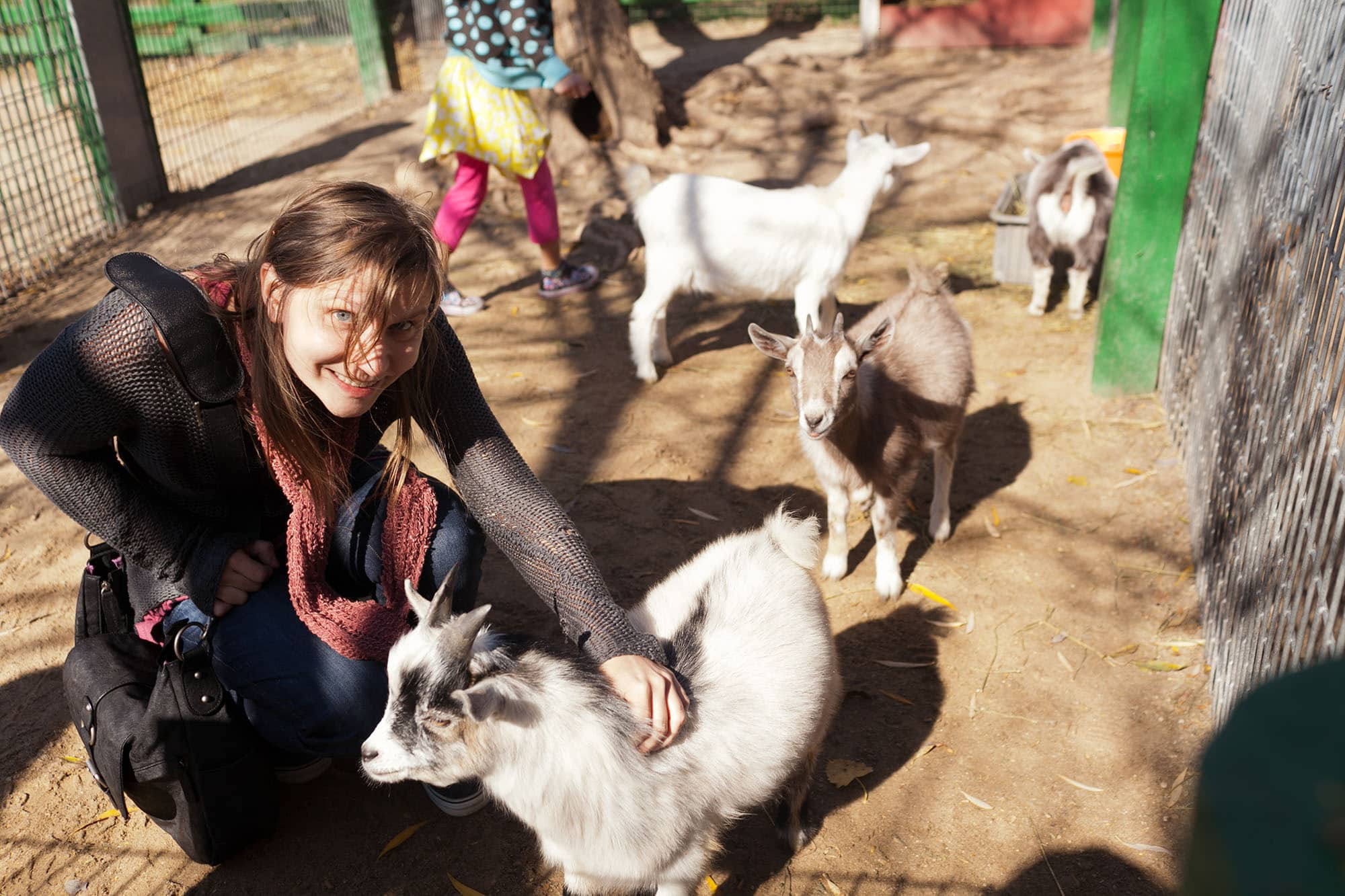Me and a goat at Bear Den Zoo and Petting Farm in Wisconsin
