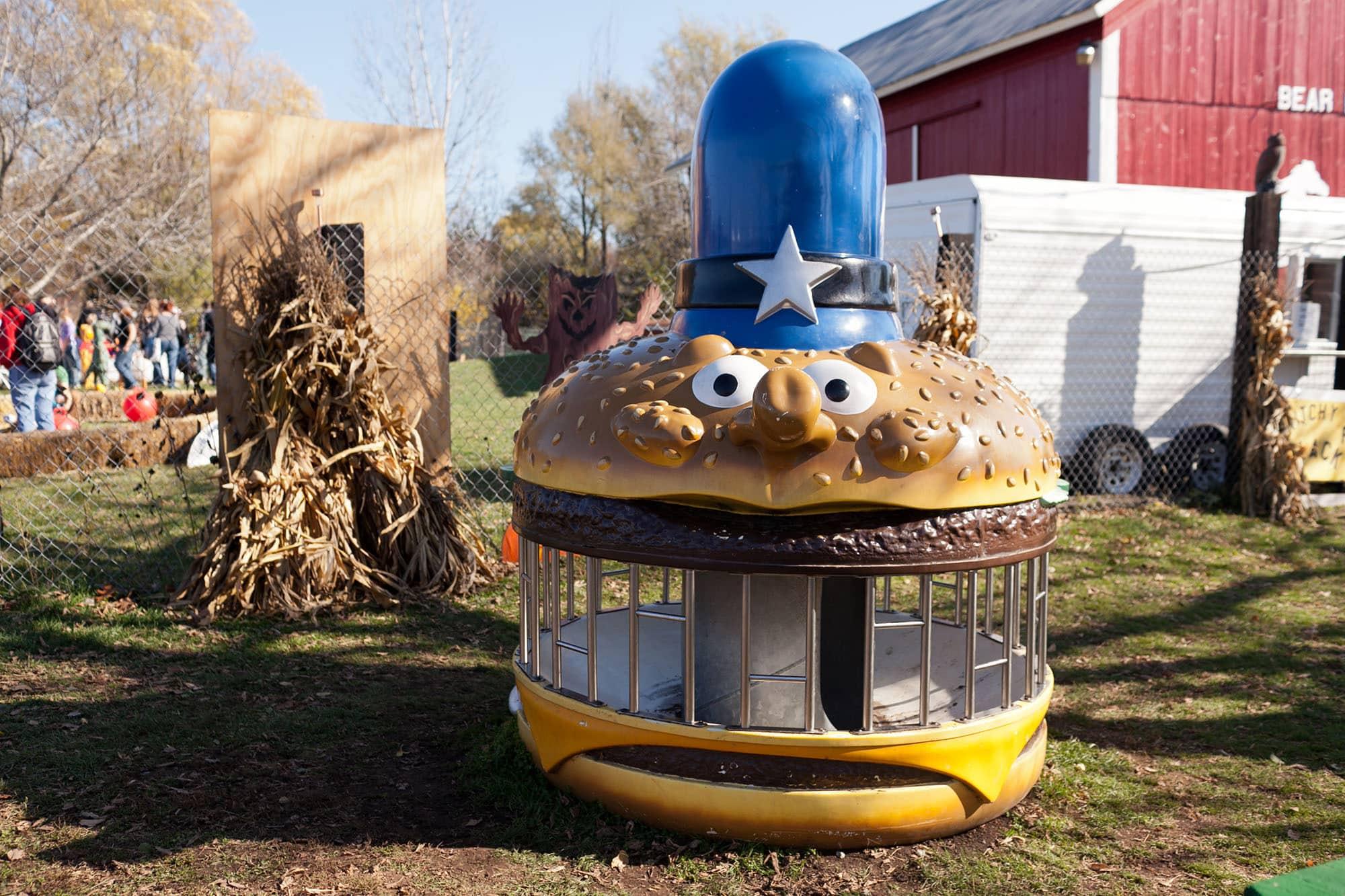 GIant hamburger at Bear Den Zoo Pumpkin Farm in Wisconsin