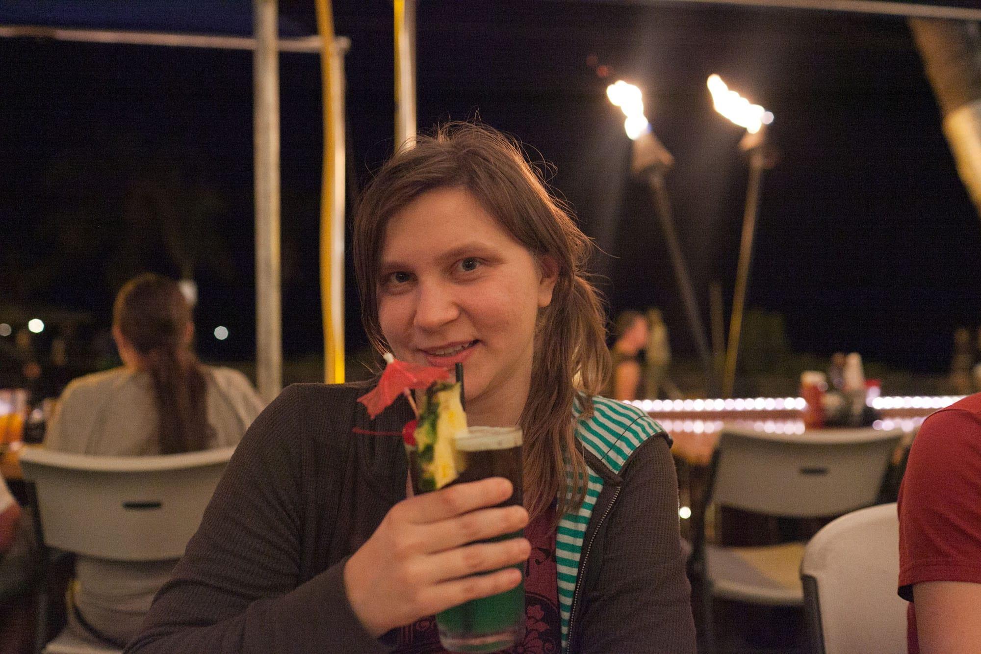 Me drinking on the Big Island in Hawaii