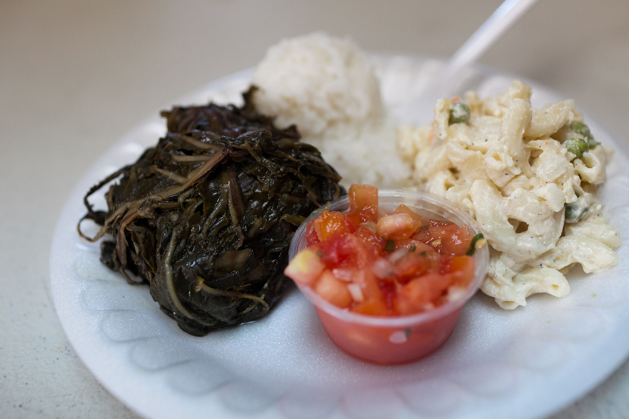 Pork laulau at Ka'aloa's Super J's Authentic Hawaiian on the Hawaiian Big Island in Hawaii