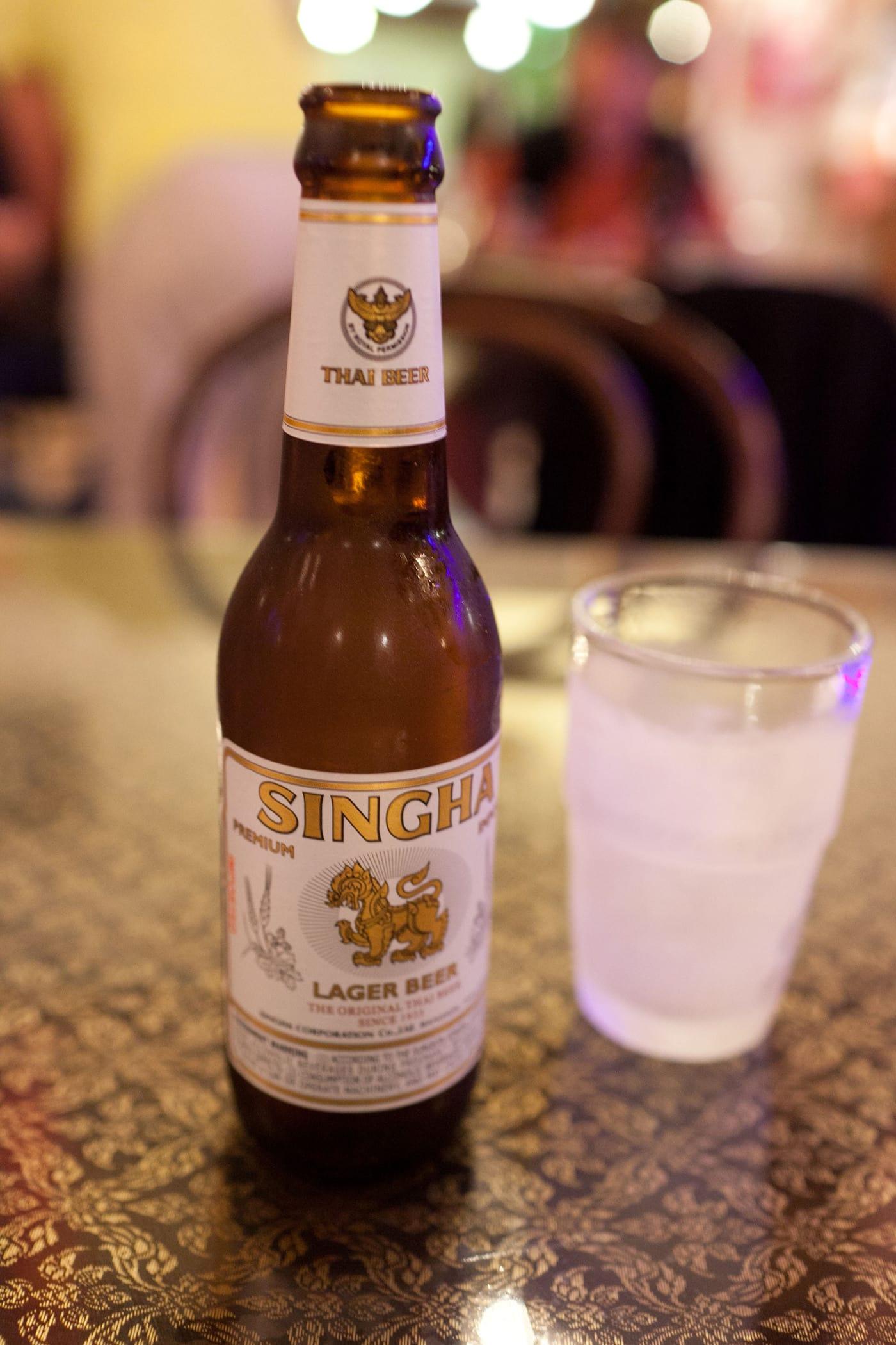 Singha beer at a Thai restaurant on the Big Island in Hawaii.