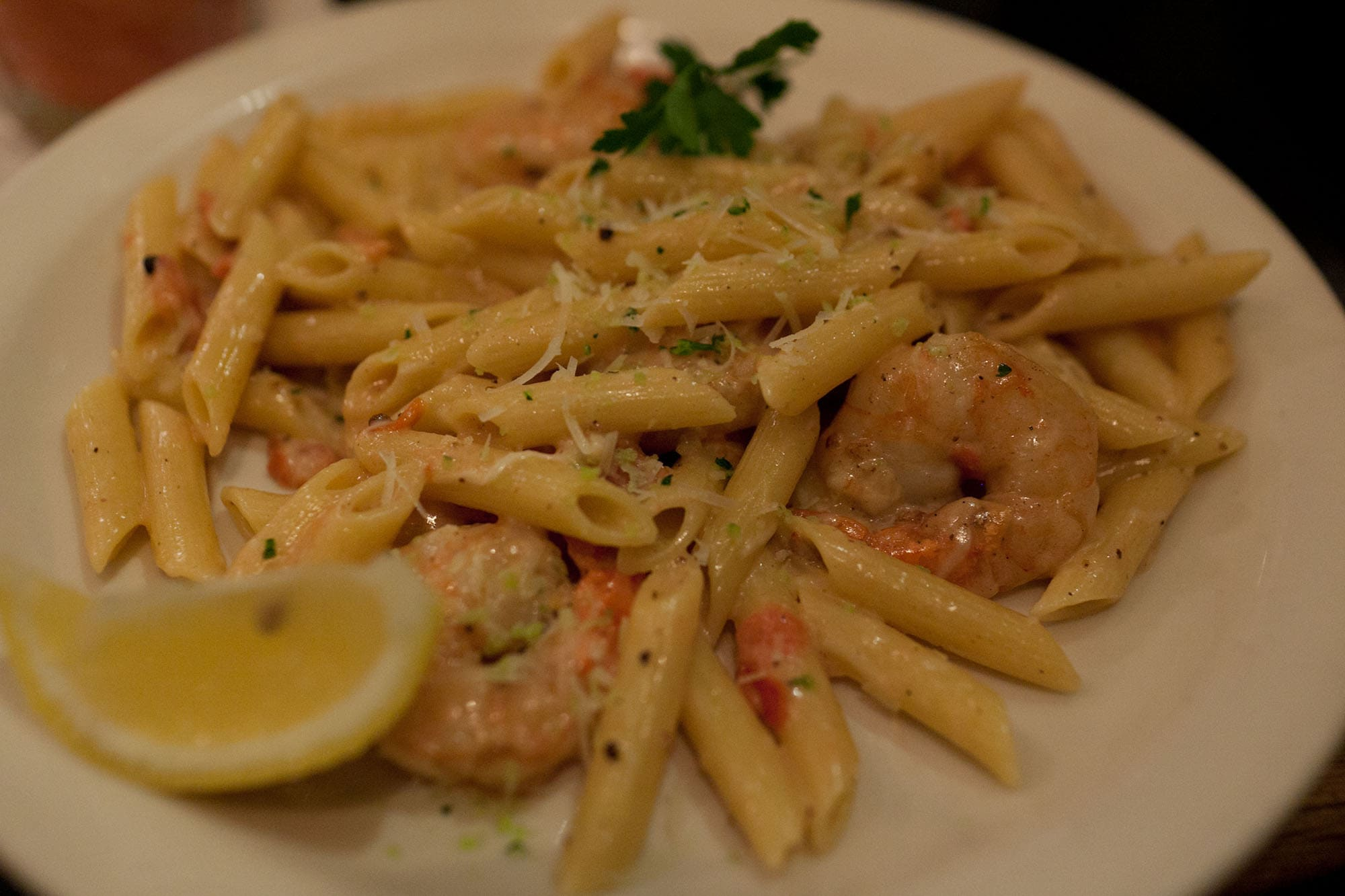 Shrimp scampi in Hilo, Big Island, Hawaii.