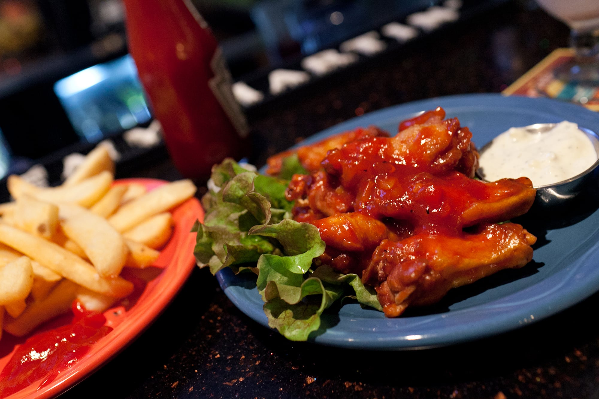 Pineapple bbq wings at Pineapples in Hilo on the Big Island in Hawaii.