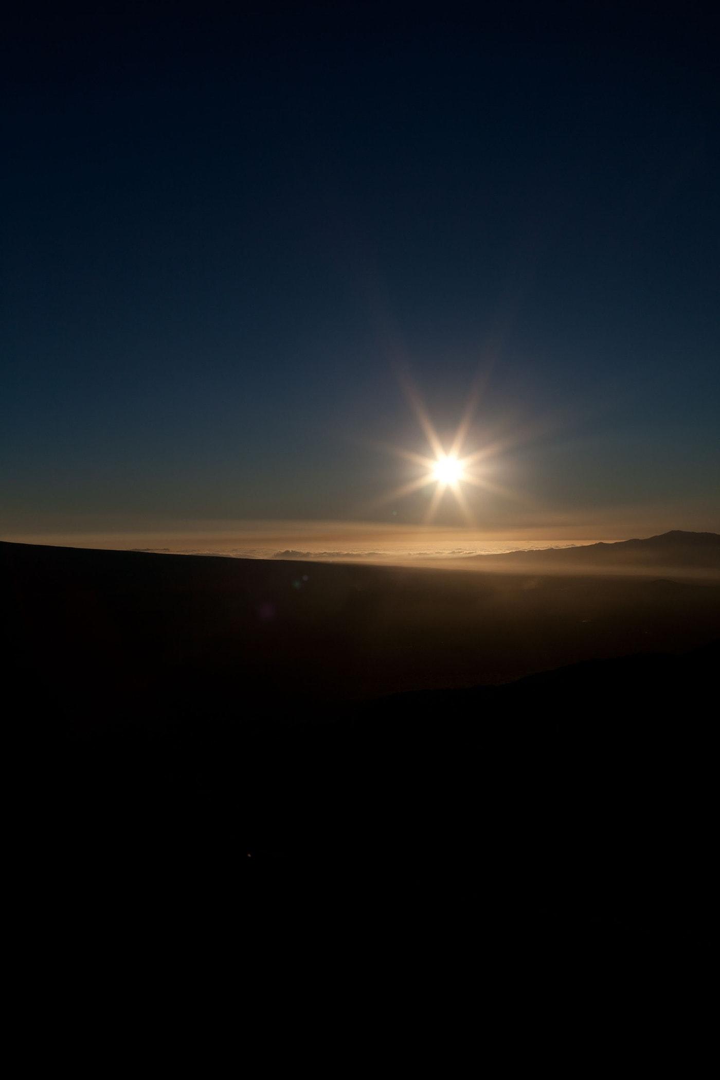 Sunset at Mauna Kea on the Big Island in Hawaii.