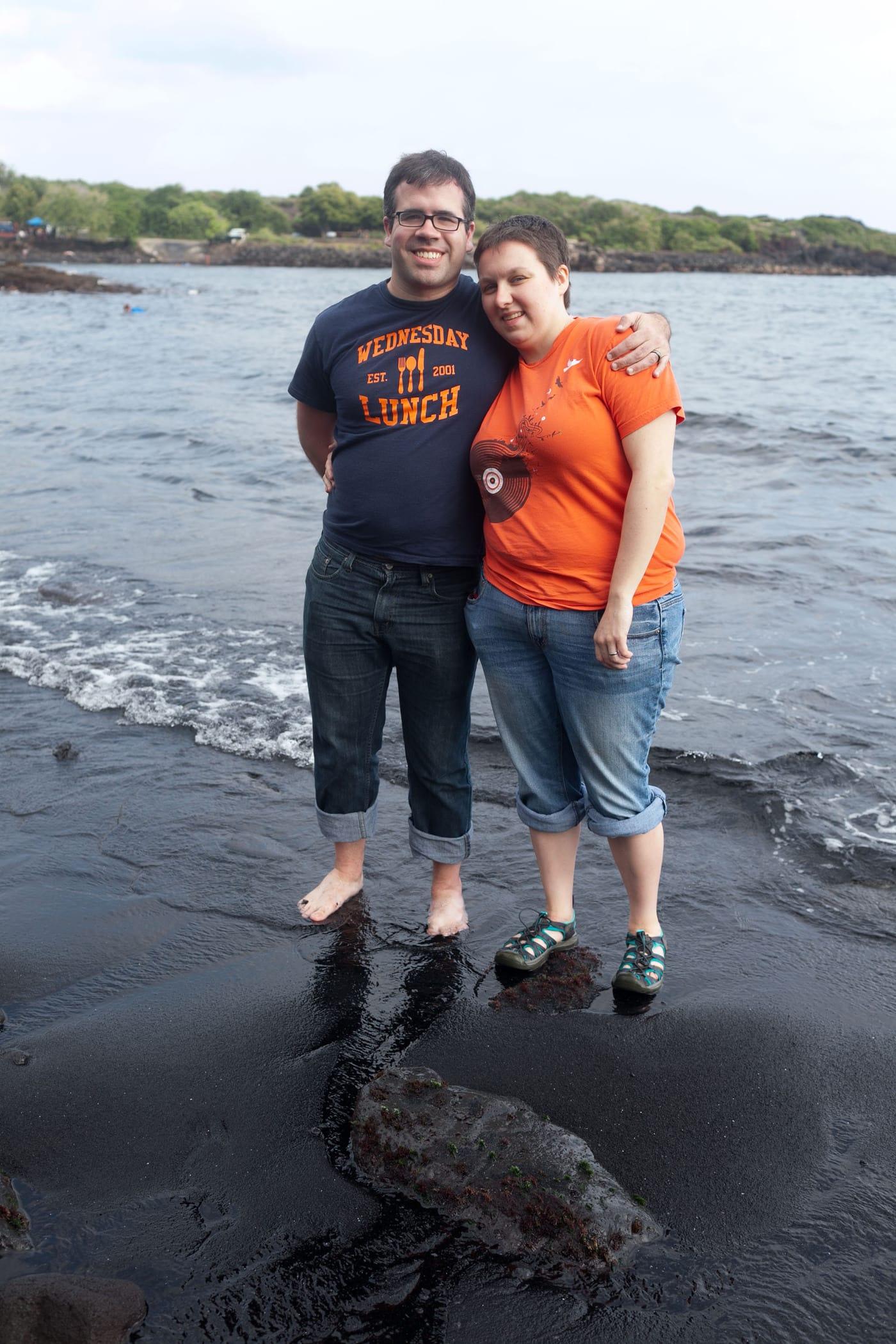 Punalu'u Black Sand Beach on the Big Island in Hawaii.