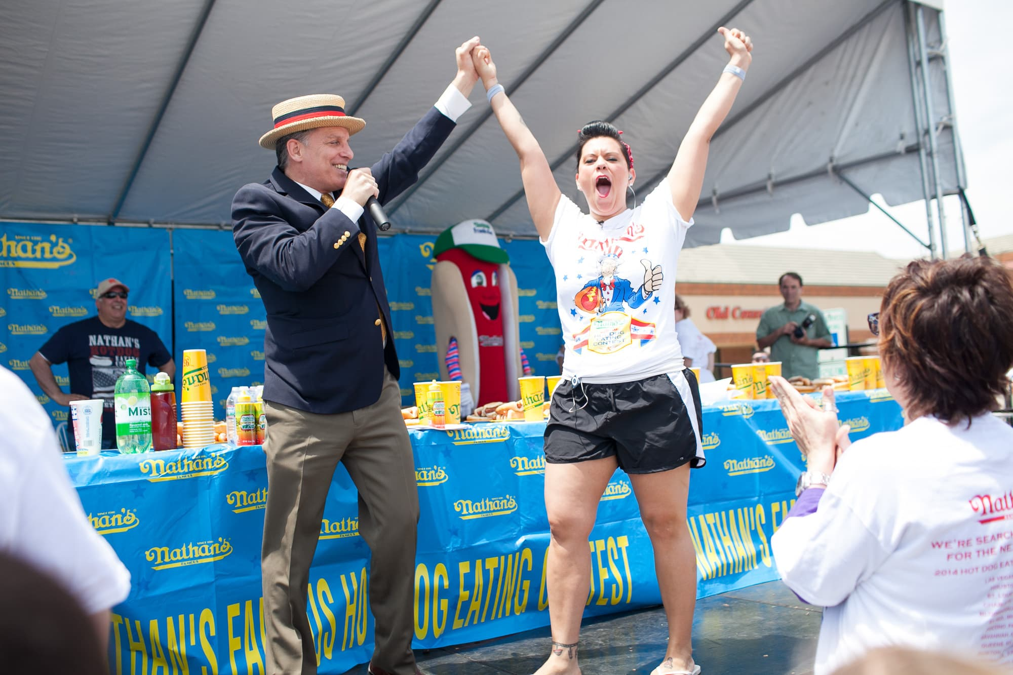 Nikki Rodriguez introduced at the hot dog eating contest at the Bloomingdale, Illinois, Kmart