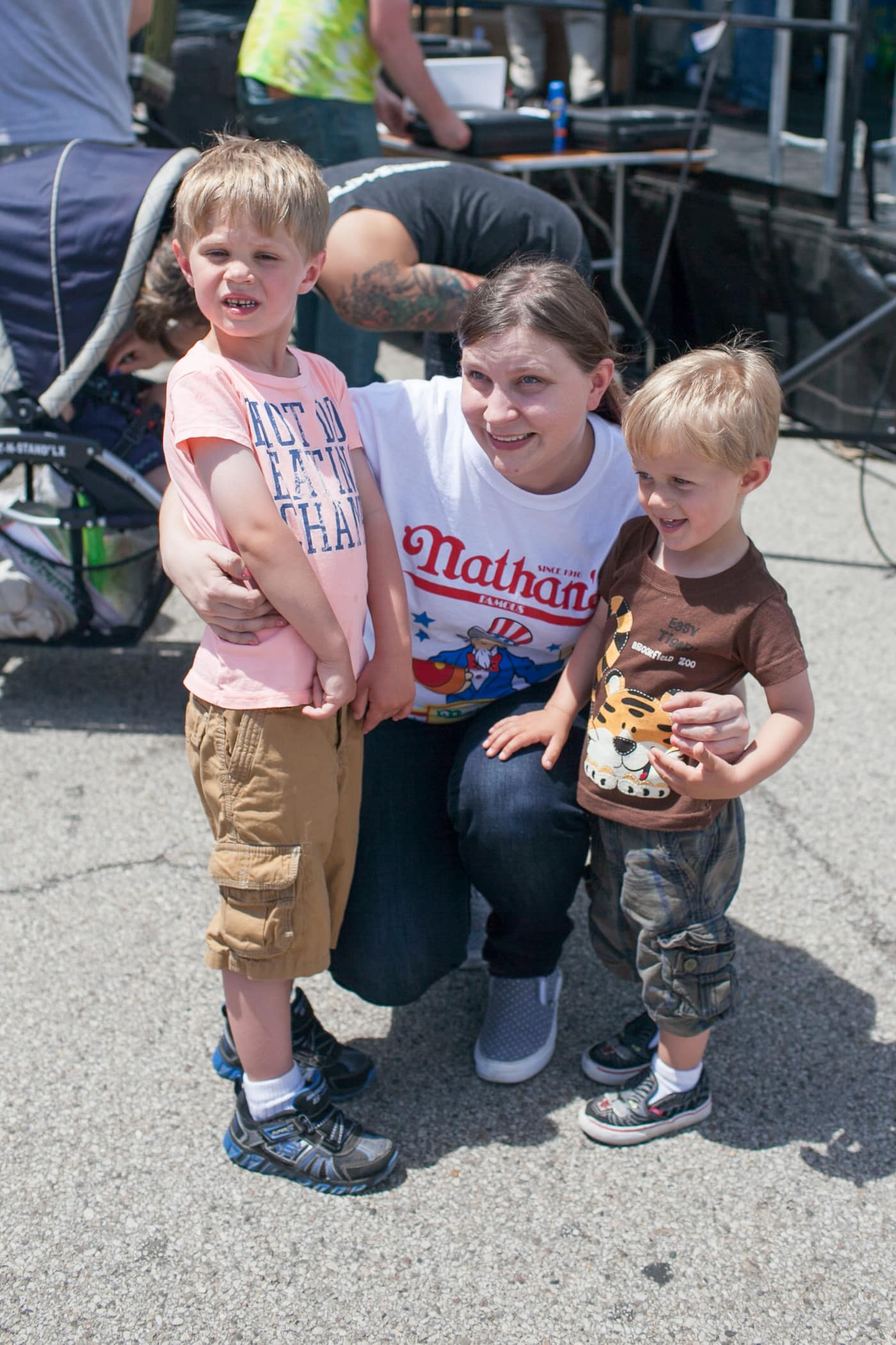 Val and her nephews at the hot dog eating contest at the Bloomingdale, Illinois, Kmart