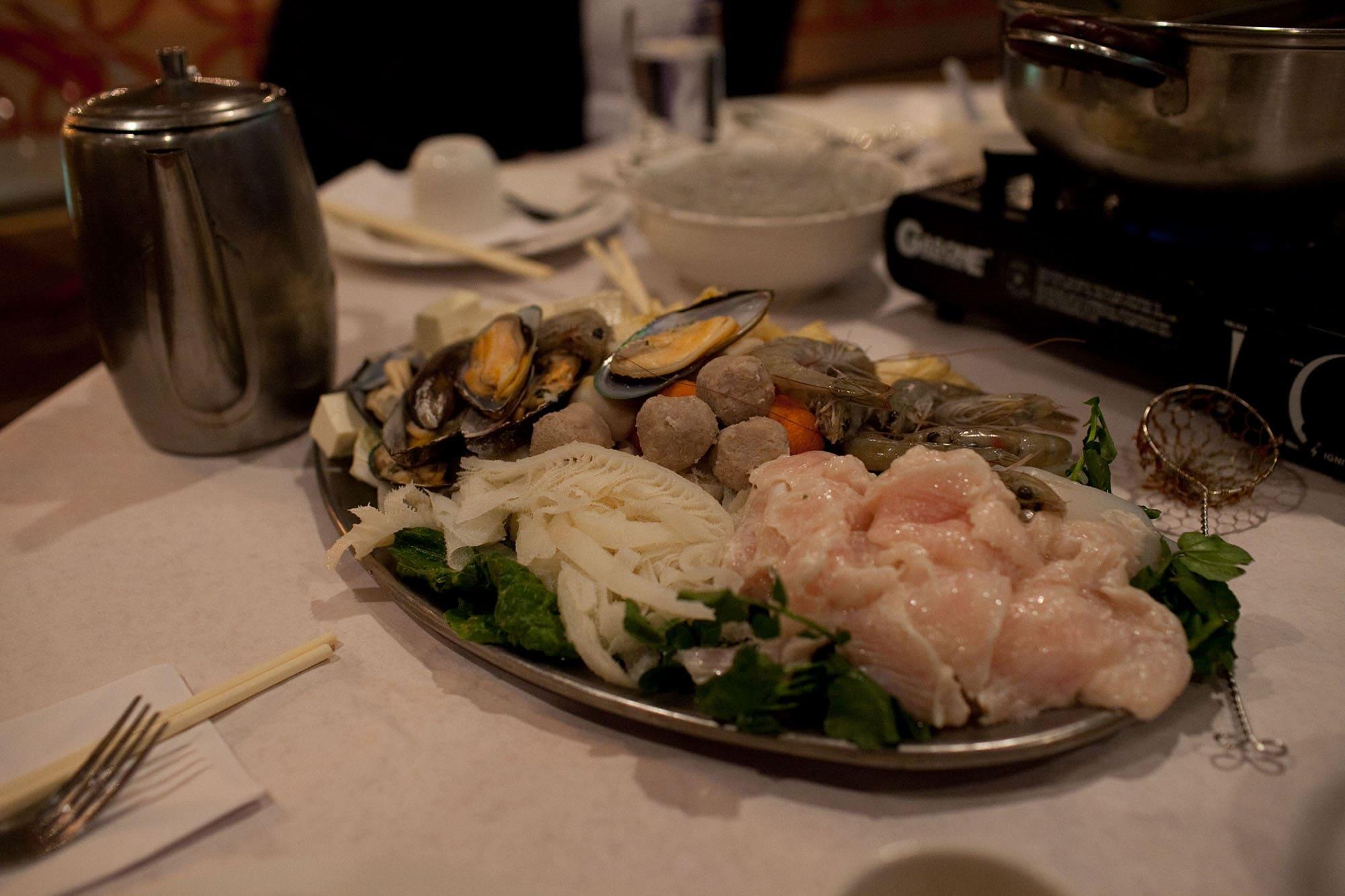 Seafood for the hot pot at Lao Sze Chuan.