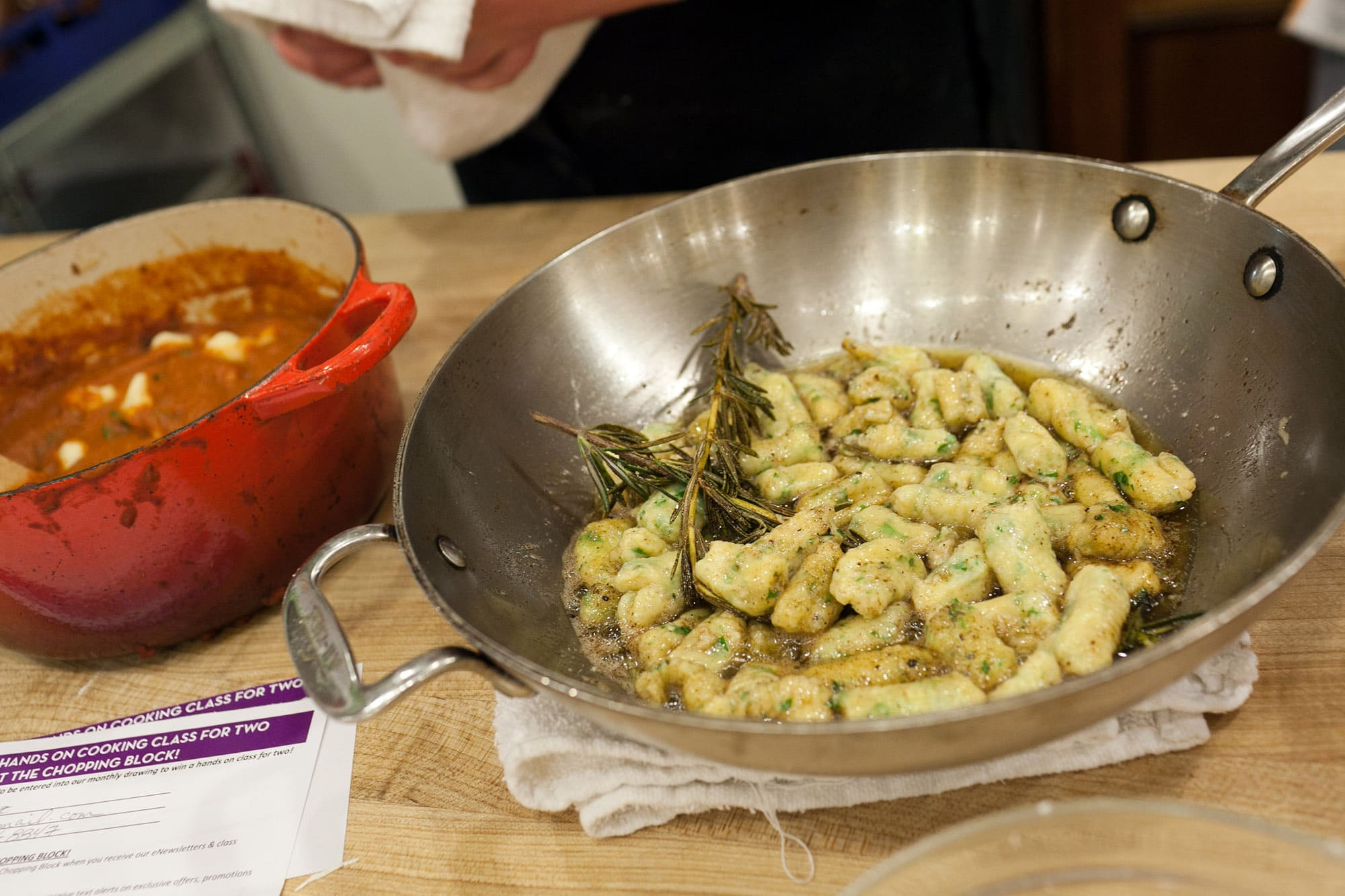 Ricotta gnocchi with brown butter sauce from the Fall Gnocchi Making Class at the Lincoln Square Chopping Block in Chicago, Illinois