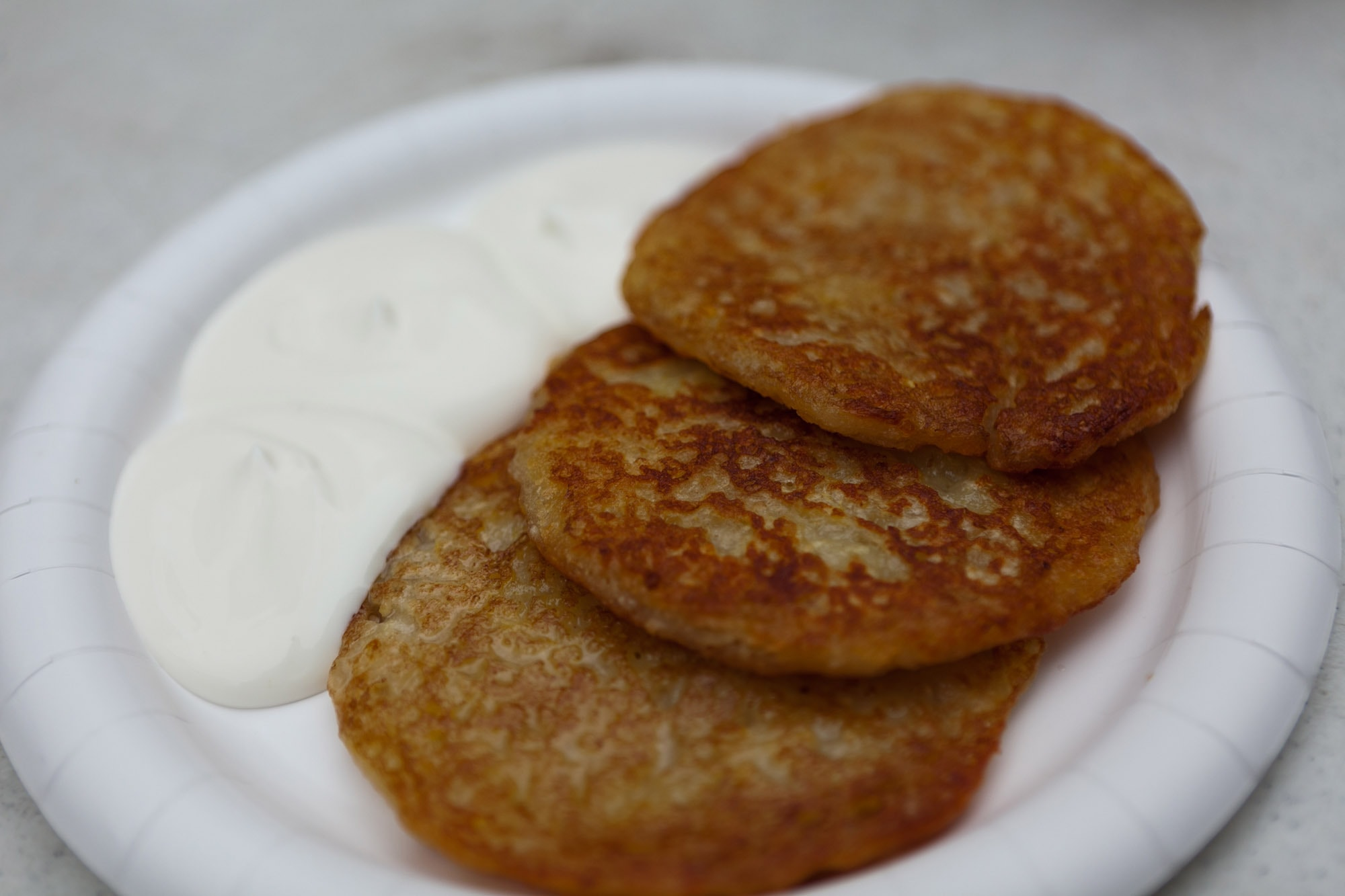 Potato pancakes at Christkindlmarket in Chicago, Illinois