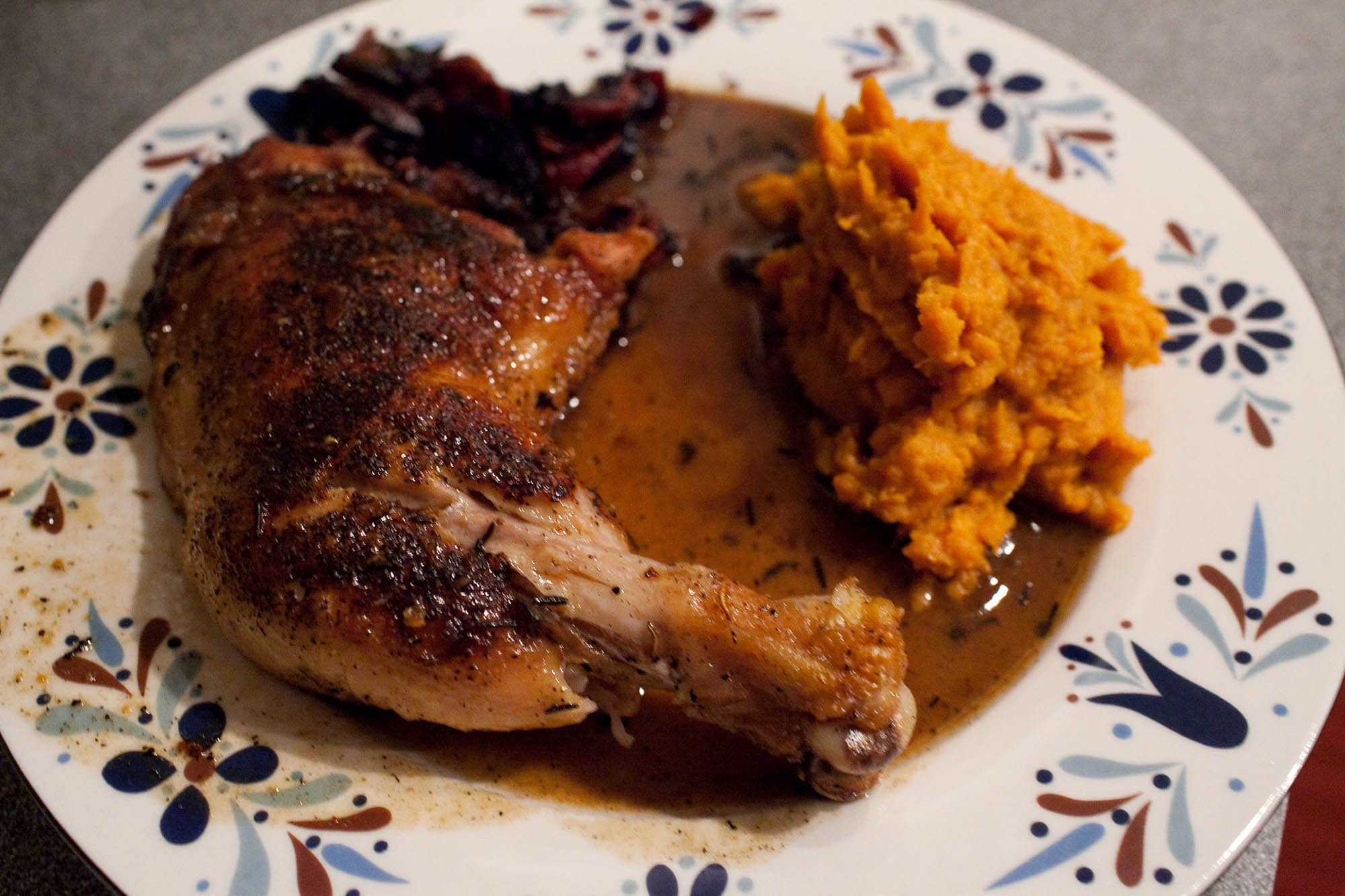 Pan roasted chicken and mashed sweet potatoes.