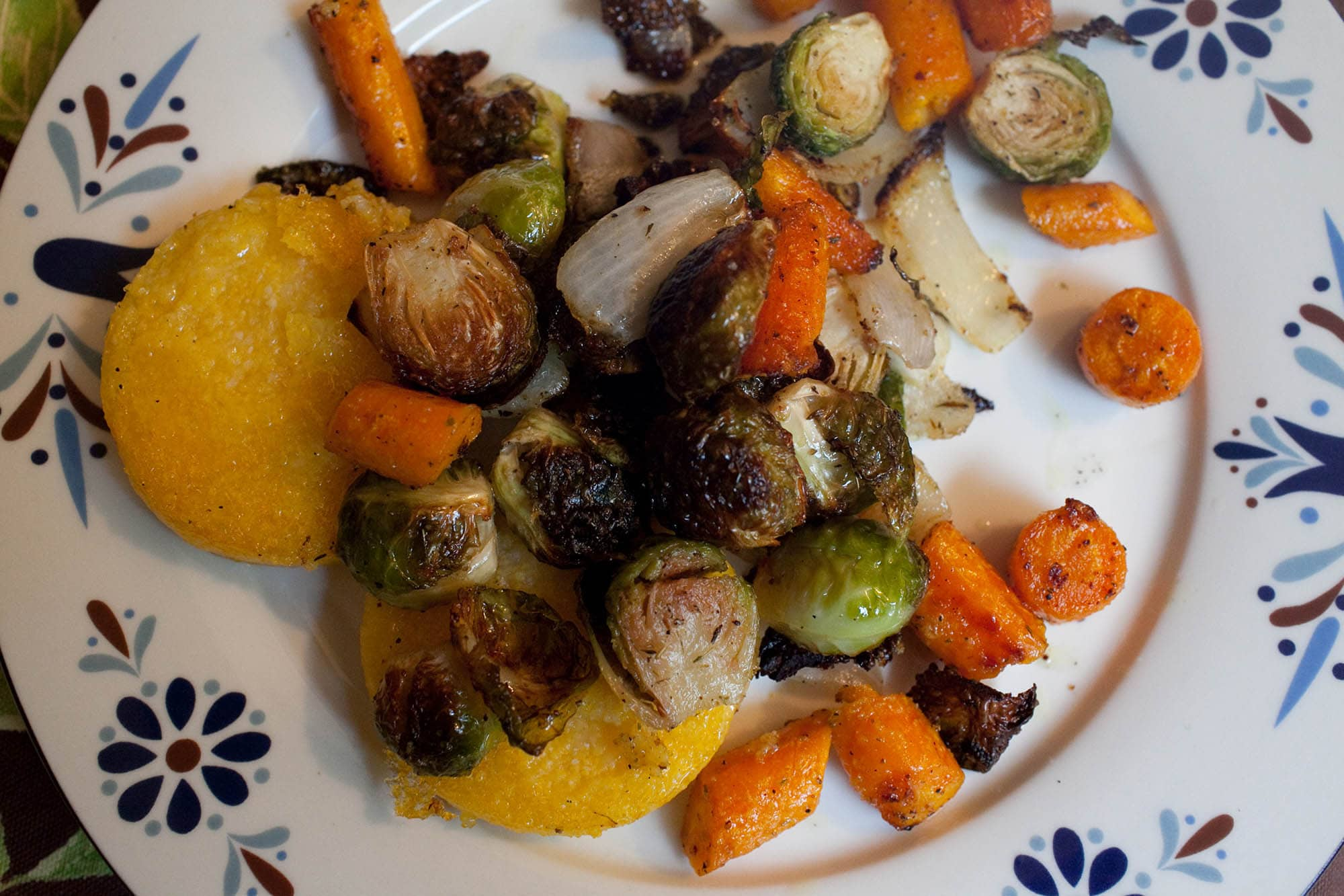 Polenta with Brussels Sprouts and Carrots