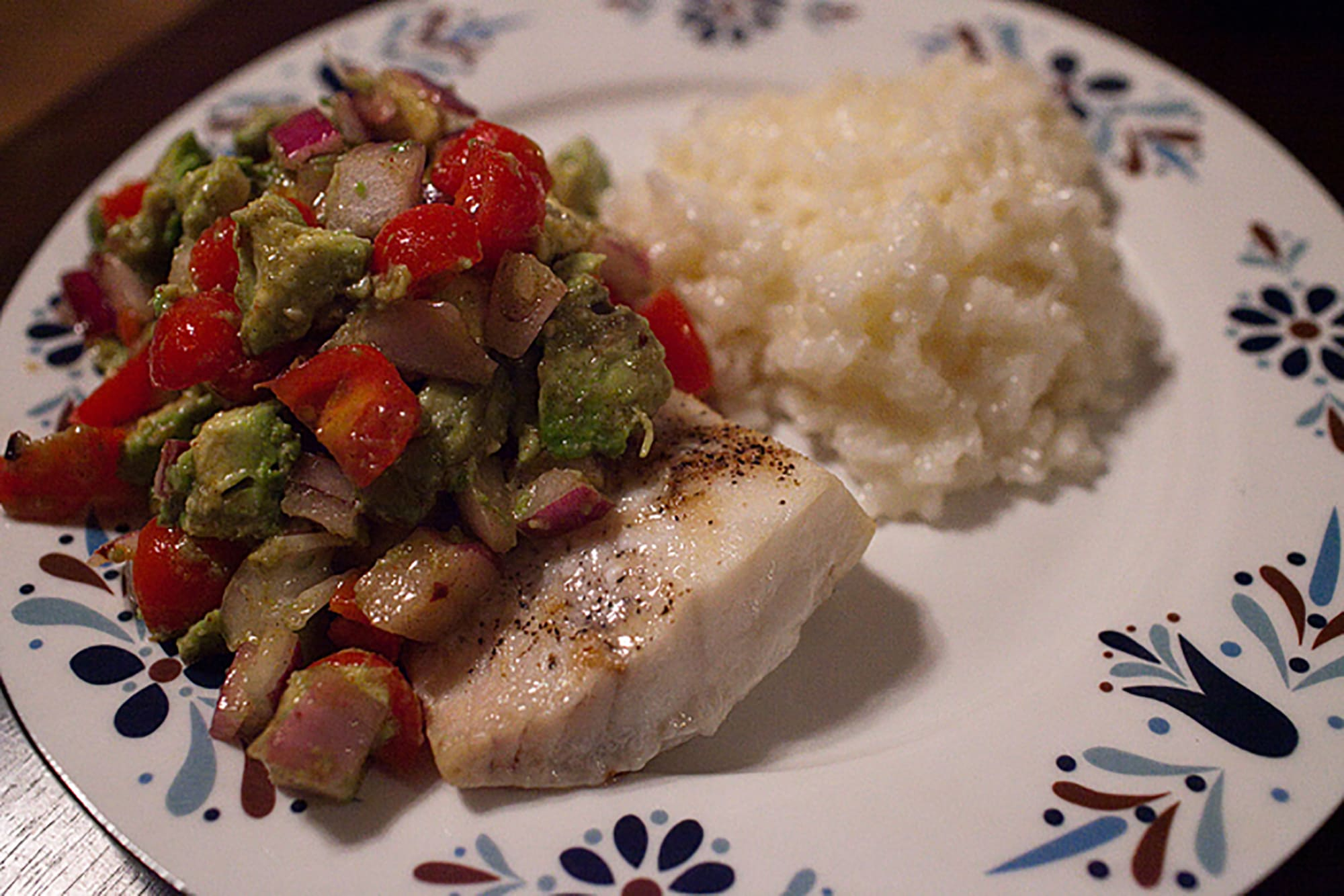 Cod with avocado salsa.