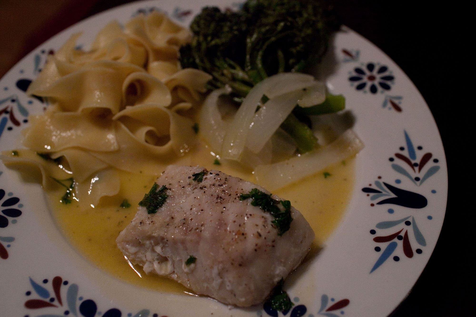 Cod with white wine sauce.