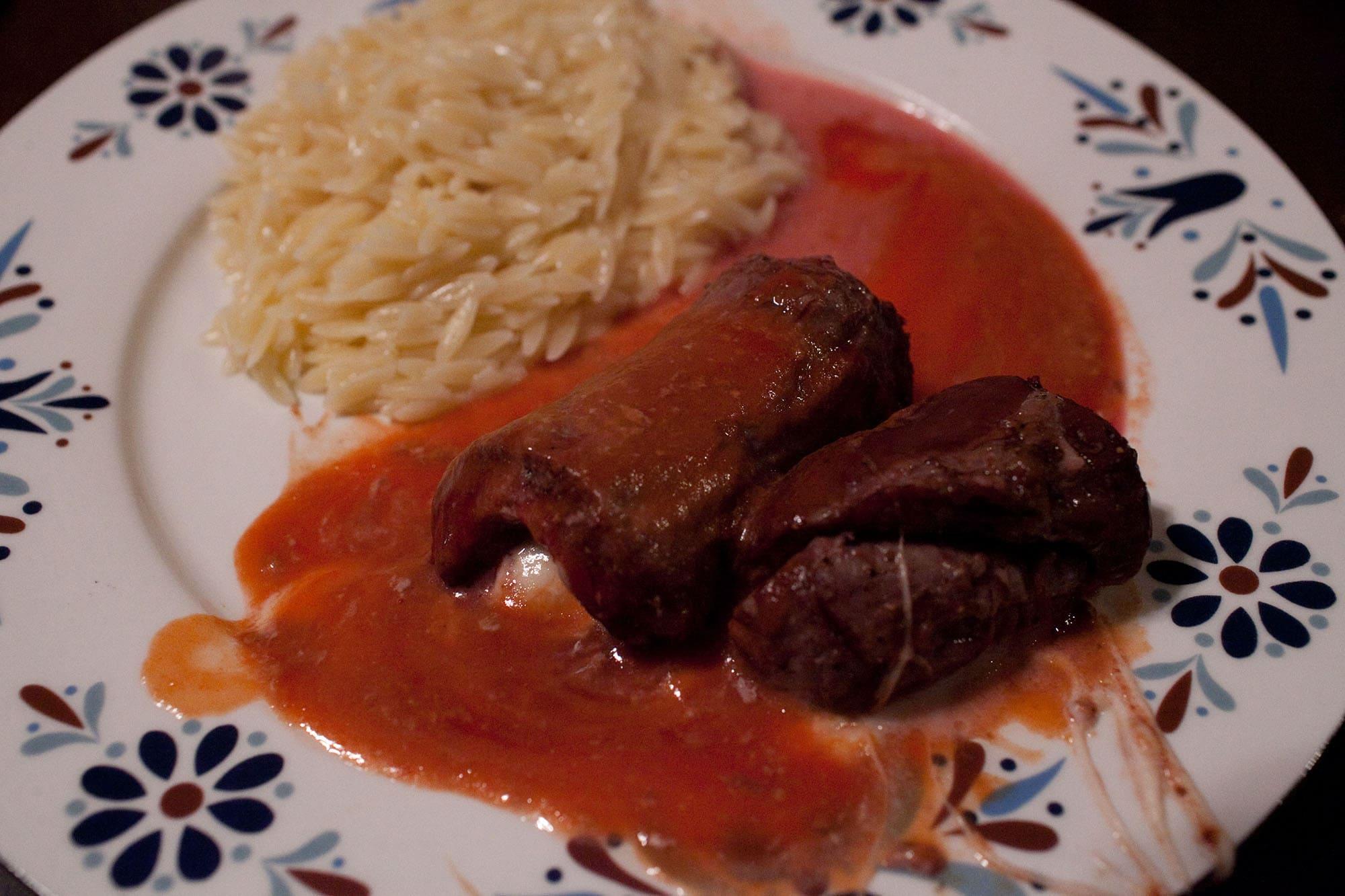 Mozzarella stuffed flank steak.
