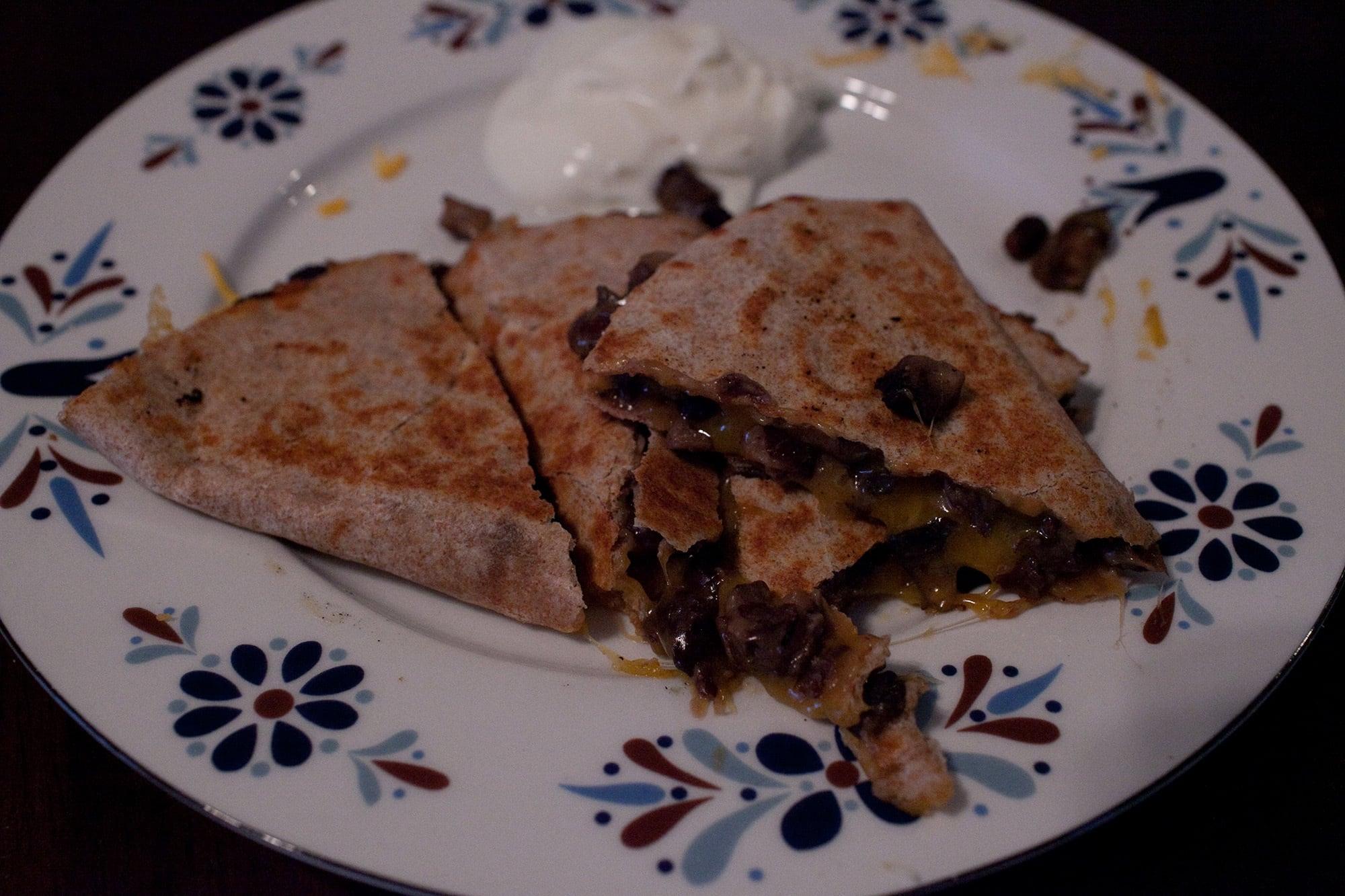 Mushroom and black bean quesadilla.