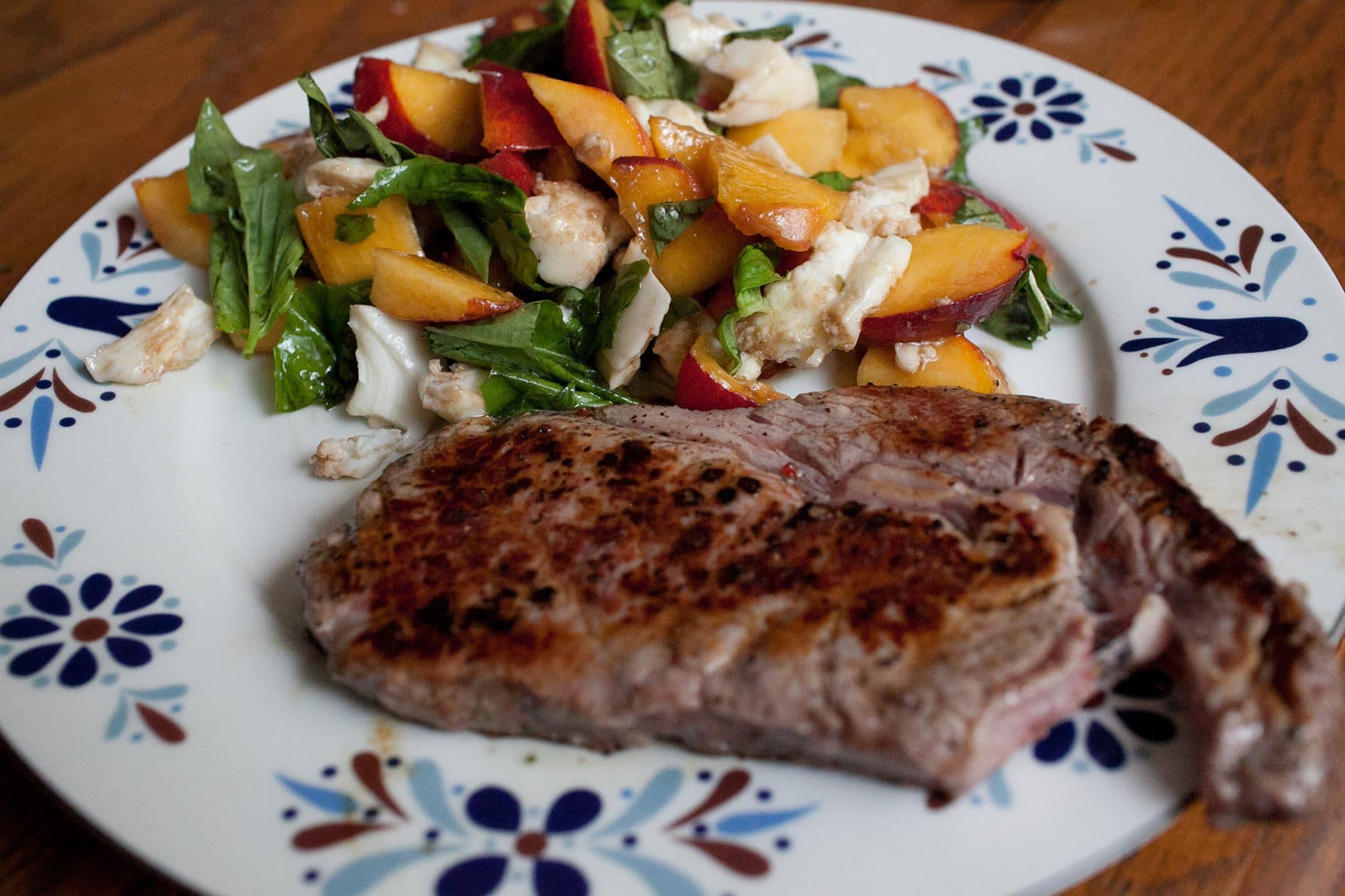 Steak and peach caprese
