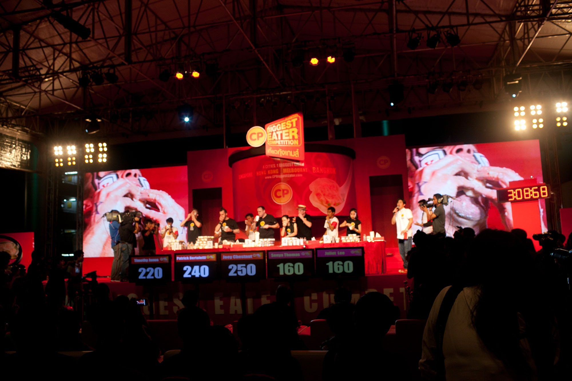 CP Biggest Eater shrimp wonton eating contest finale in Bangkok, Thailand.