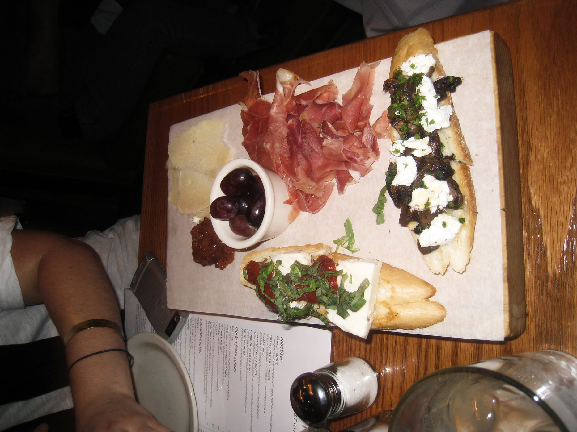 cheese, bruschetta, and meta plate from Frasca