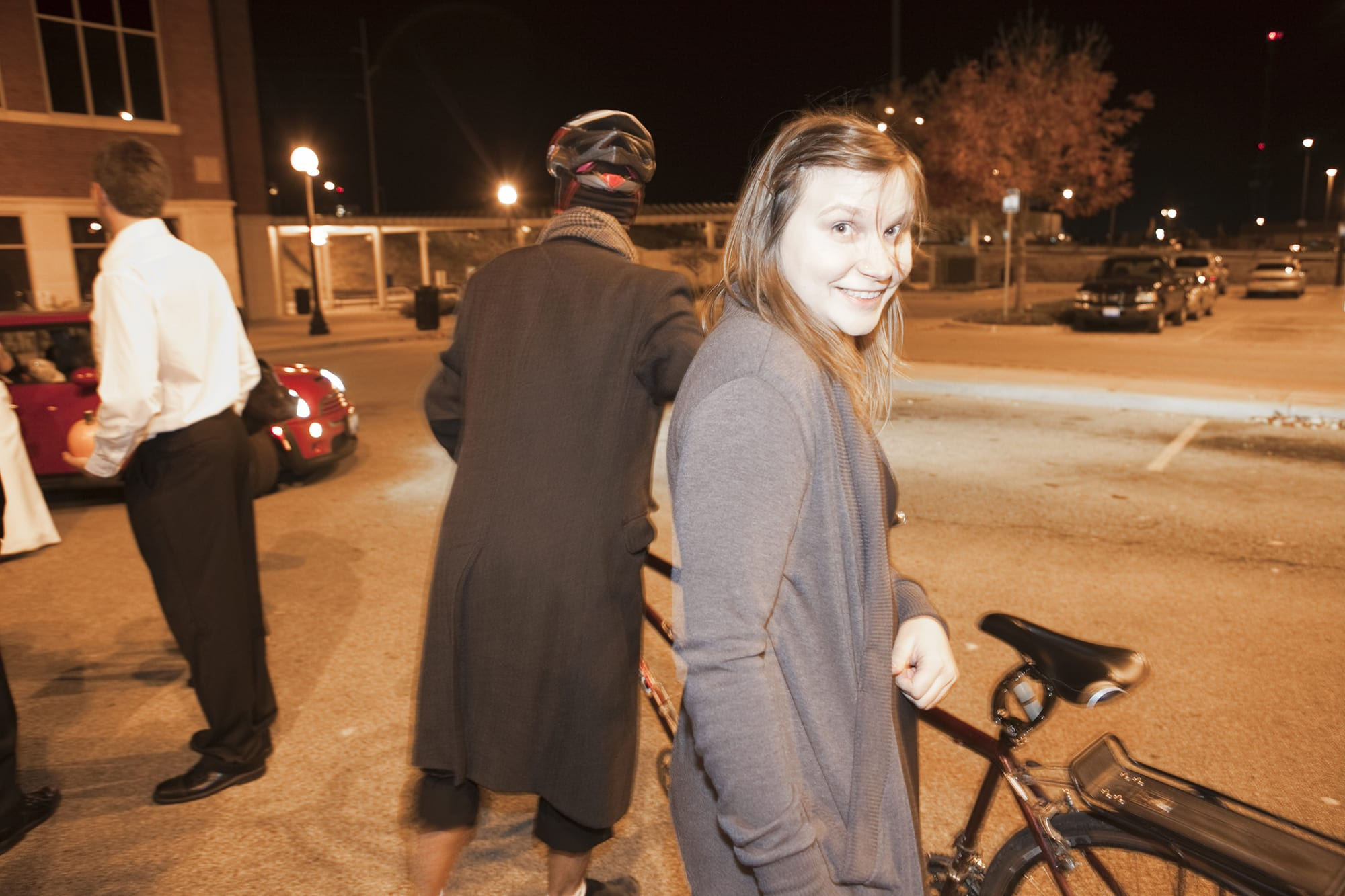 Riding on a bicycle built for two at Jen and Andrews wedding