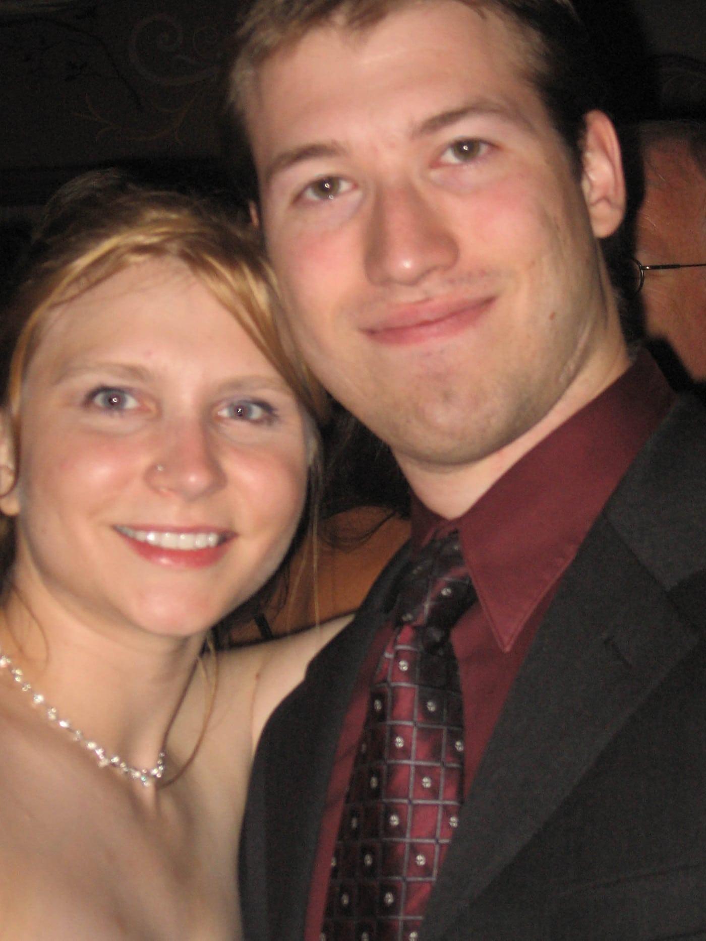 Val and Matt at a wedding.