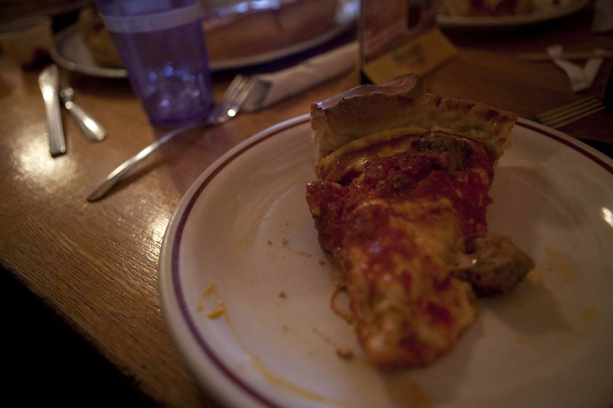 Stuffed pizza at Papa Del's pizza in Champaign, Illinois