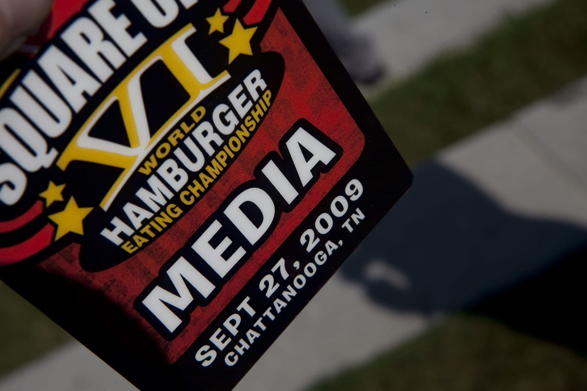 Media pass at the Krystal Square Off VI Hamburger eating Contest in Chattanooga, Tennessee.