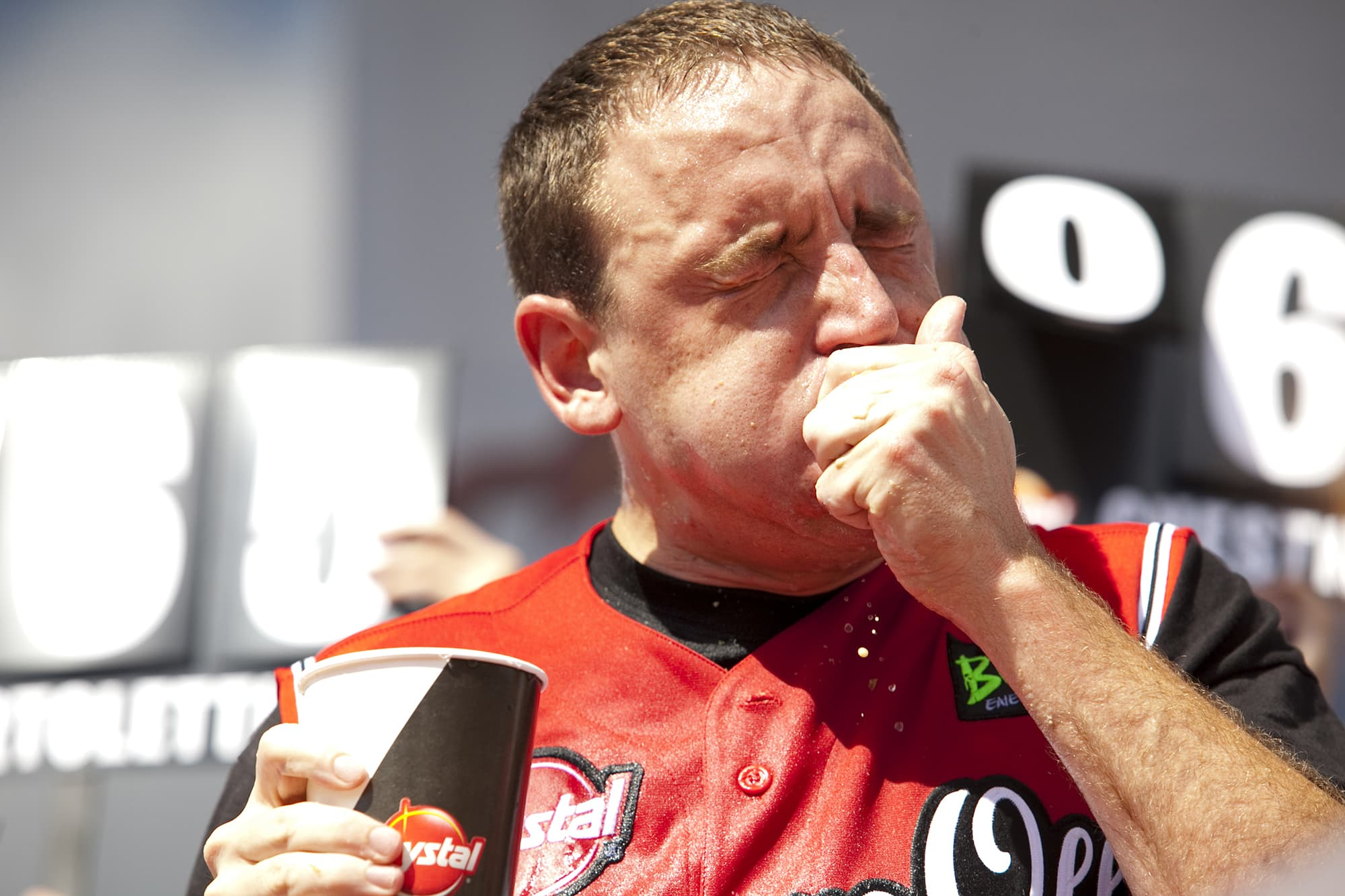 Joey Chestnut eats at the Krystal Square Off VI Hamburger eating Contest in Chattanooga, Tennessee.