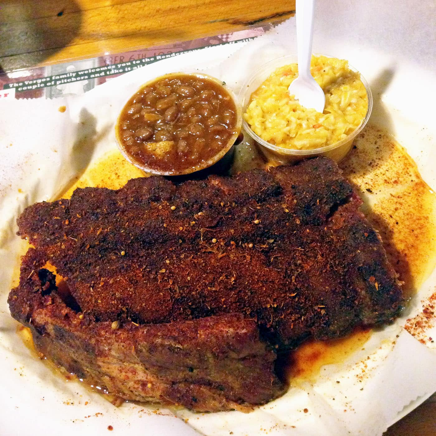 Pork ribs from Rendezvous Ribs in Memphis, Tennessee.