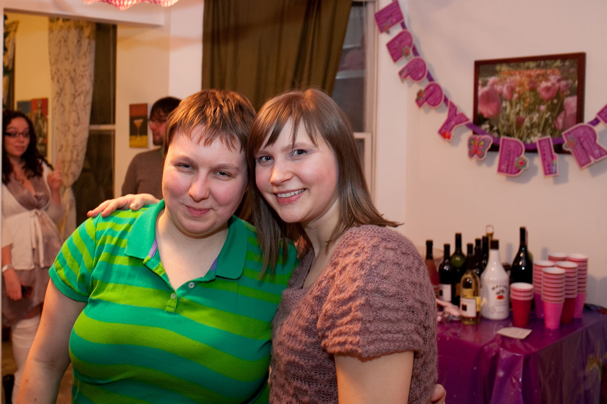 My thirtieth birthday party. Me and Jen at our birthday party.