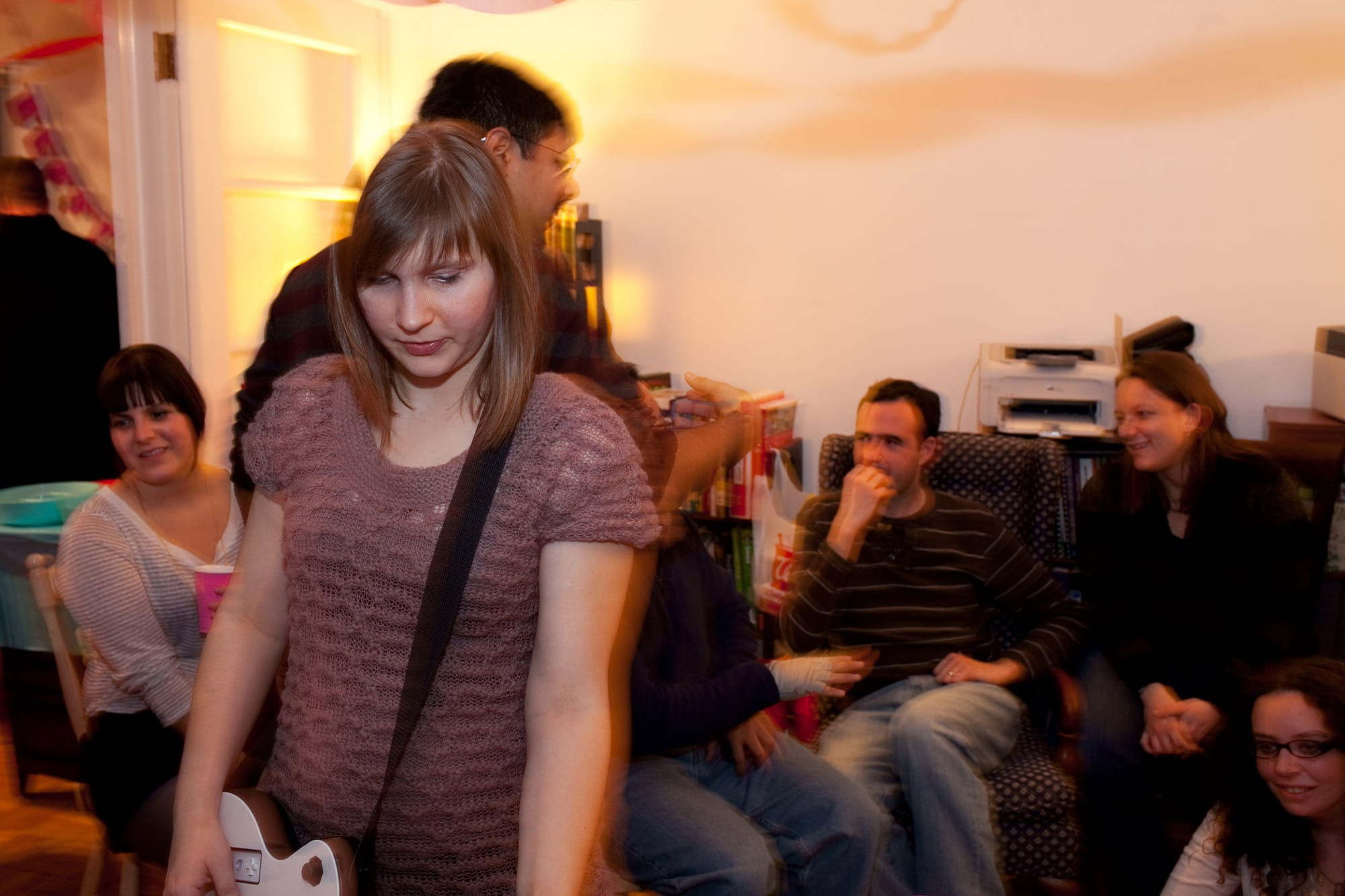 My thirtieth birthday party. Playing Guitar Hero.