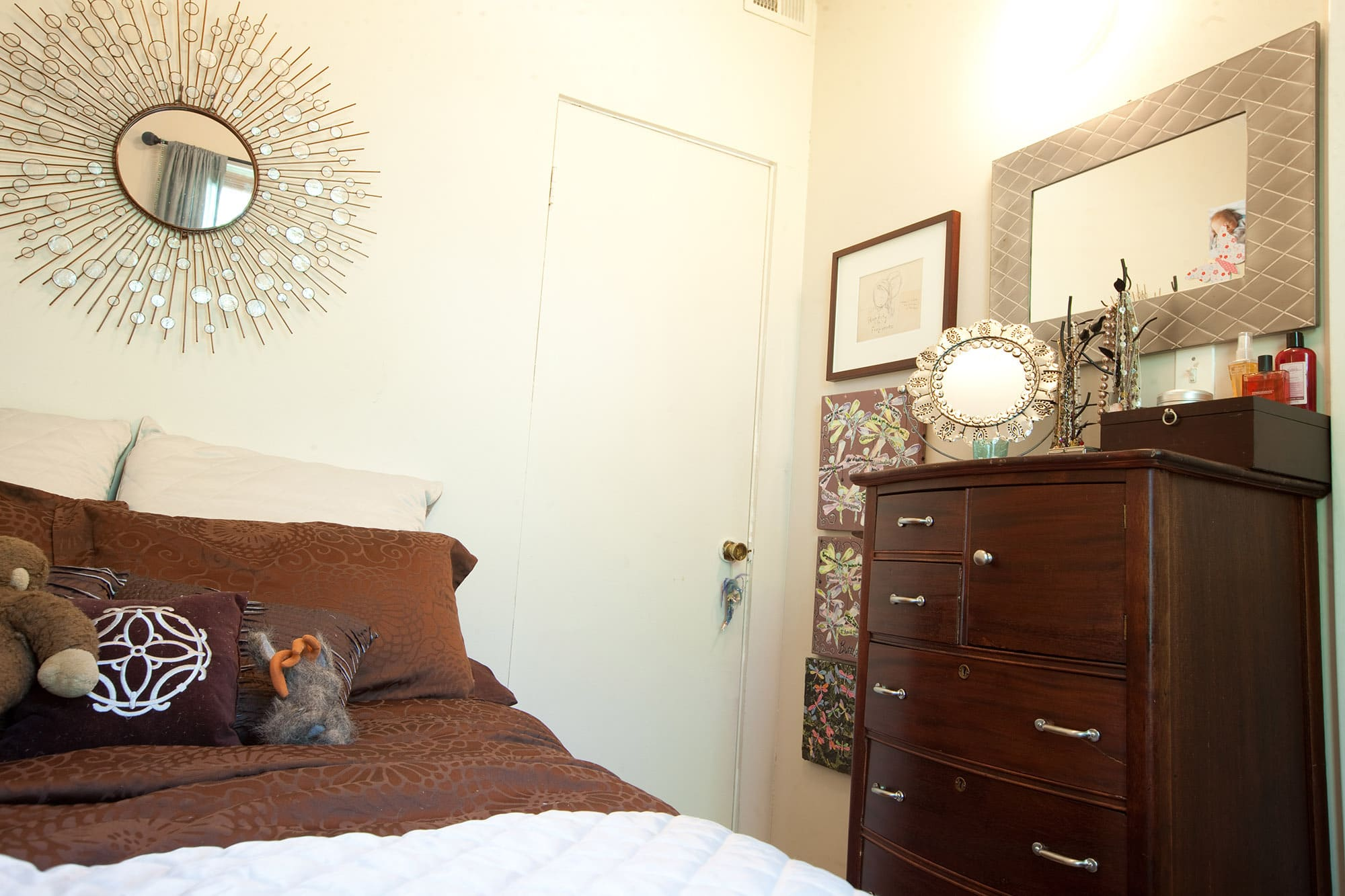 My bedroom. My blue and brown bedroom color scheme. my dresser