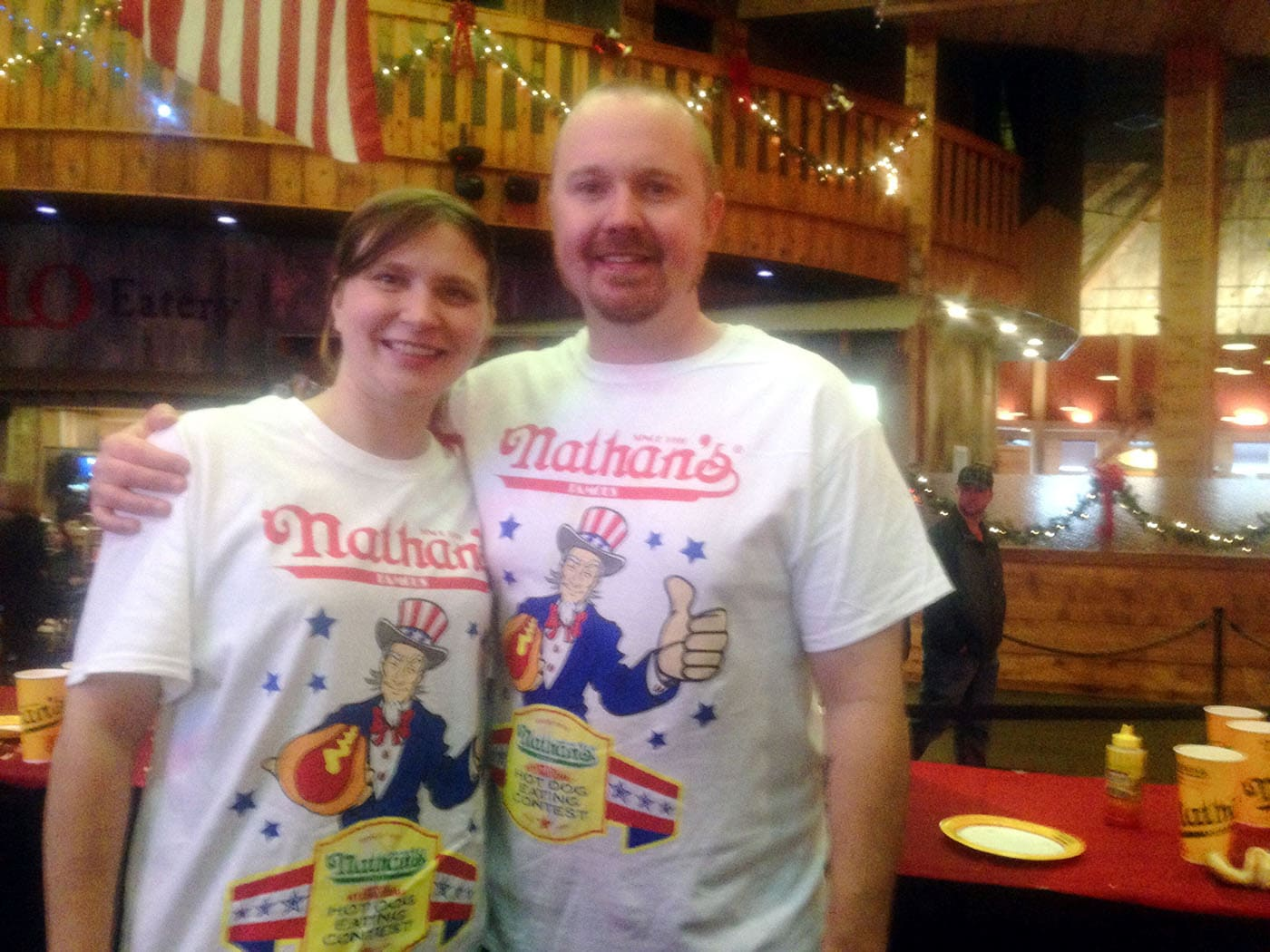 Nathan's Famous hot dog eating contest qualifier 2014 in Tunica, Mississippi.