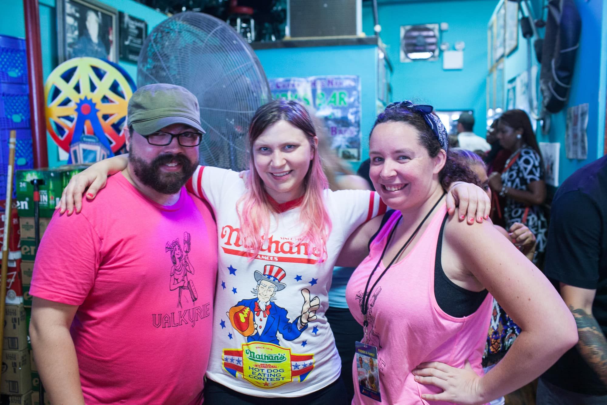 Val, Heather, and Jeremy after the 2014 Nathan's Famous Fourth of July Hot Dog Eating Contest