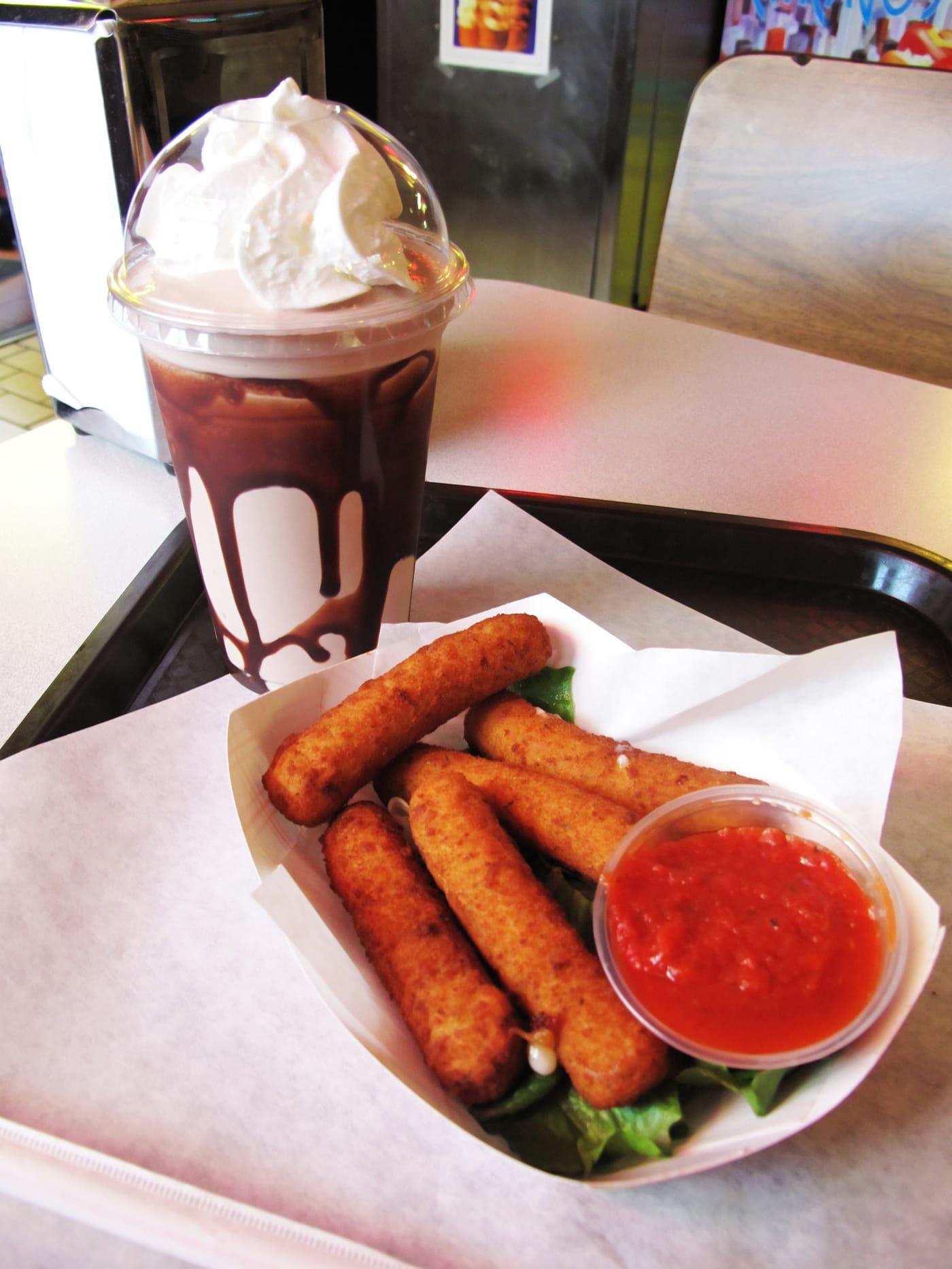 mozzarella sticks and a chocolate milkshake at the Bunny Hutch