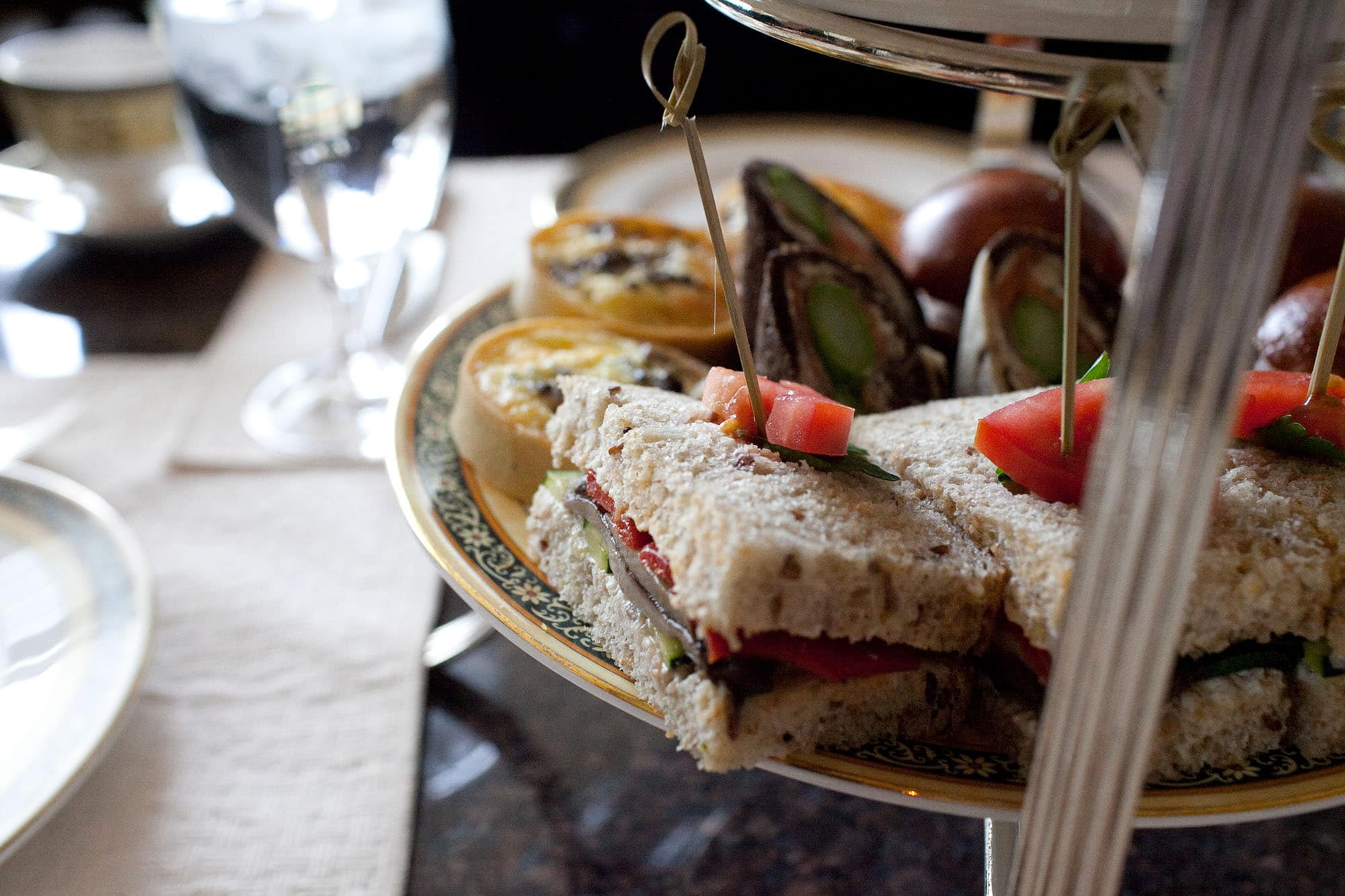 Tea sandwiches at the Lobby at The Peninsula in Chicago, Illinois.