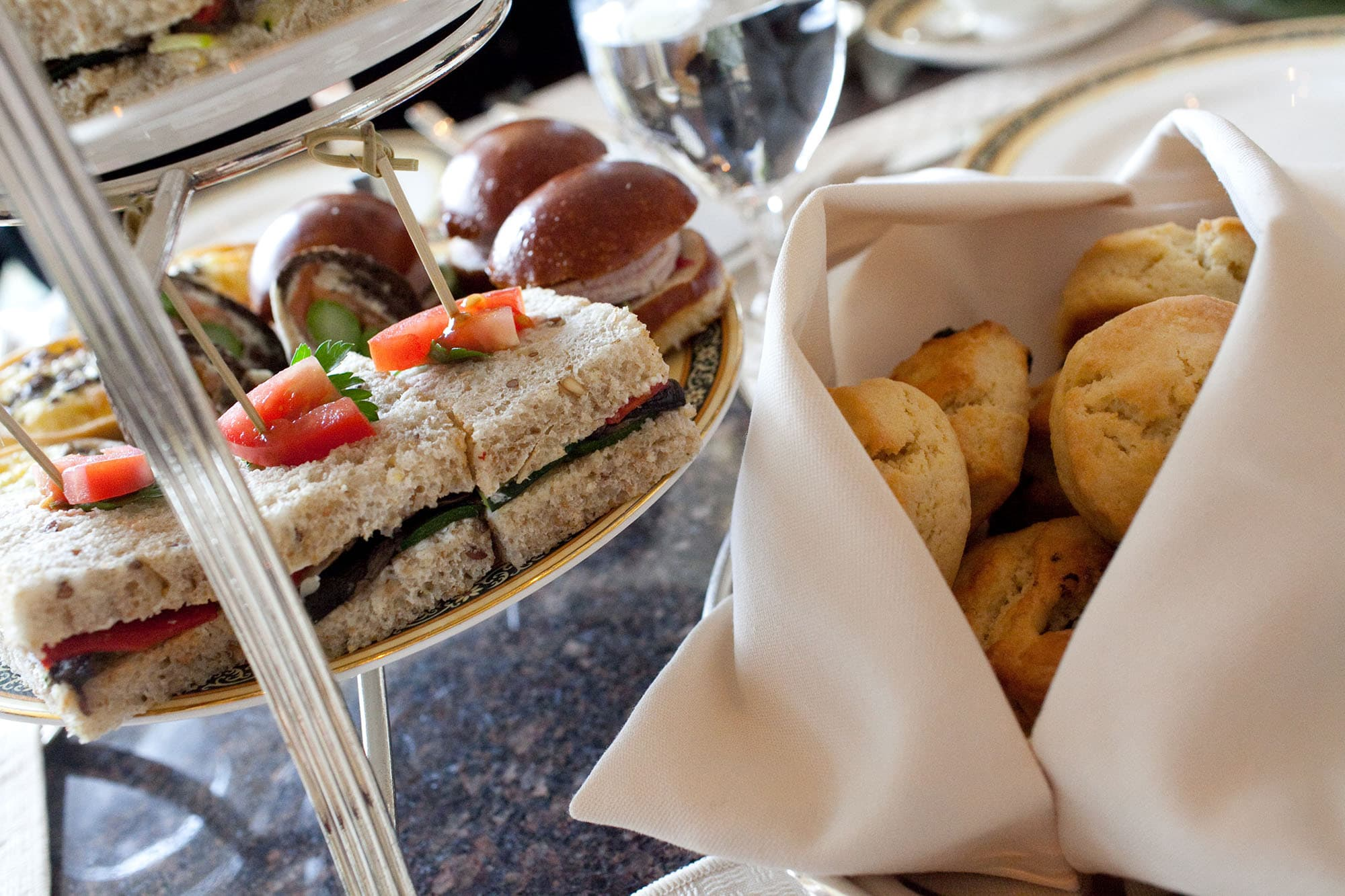 Tea sandwiches and scones at the Lobby at The Peninsula in Chicago, Illinois.