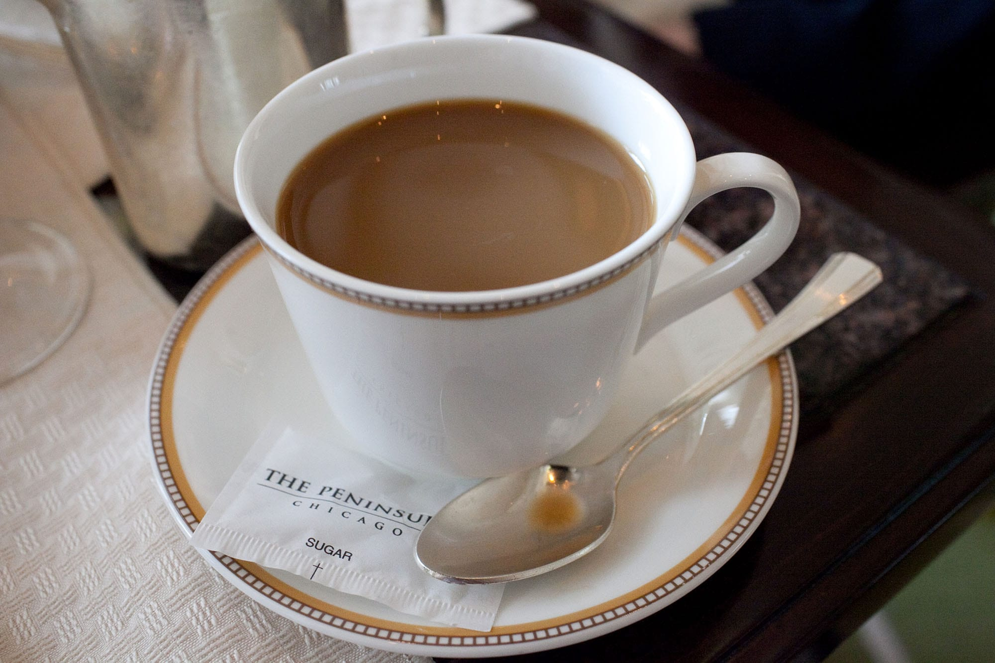 Coffee at afternoon tea at the Lobby at The Peninsula in Chicago, Illinois.