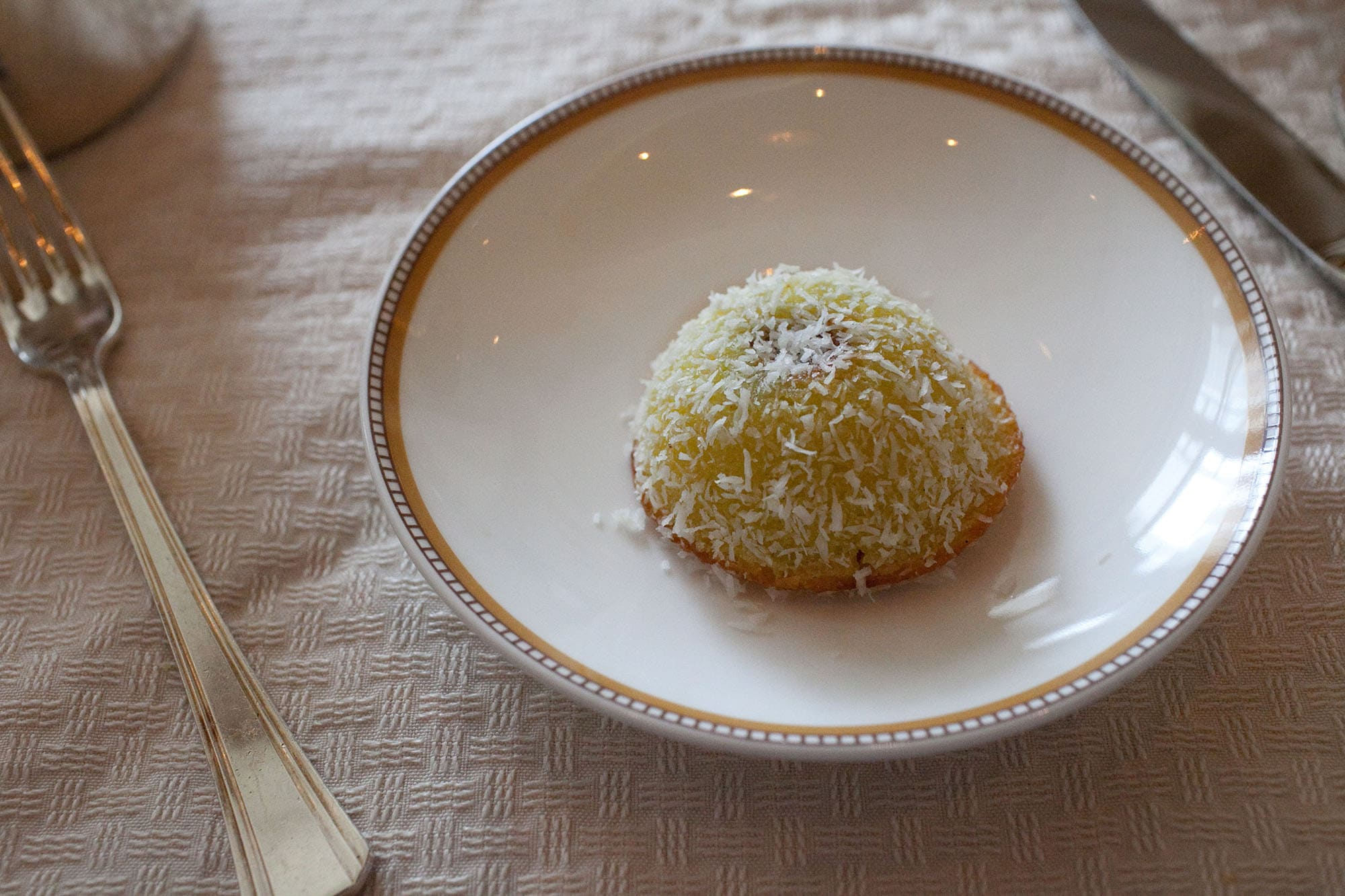 Chocolate filled coconut cake at the Lobby at The Peninsula in Chicago, Illinois.