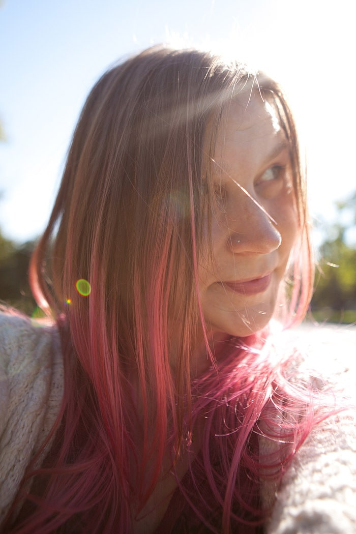 Candy pink hair. Choosing Figs. <3