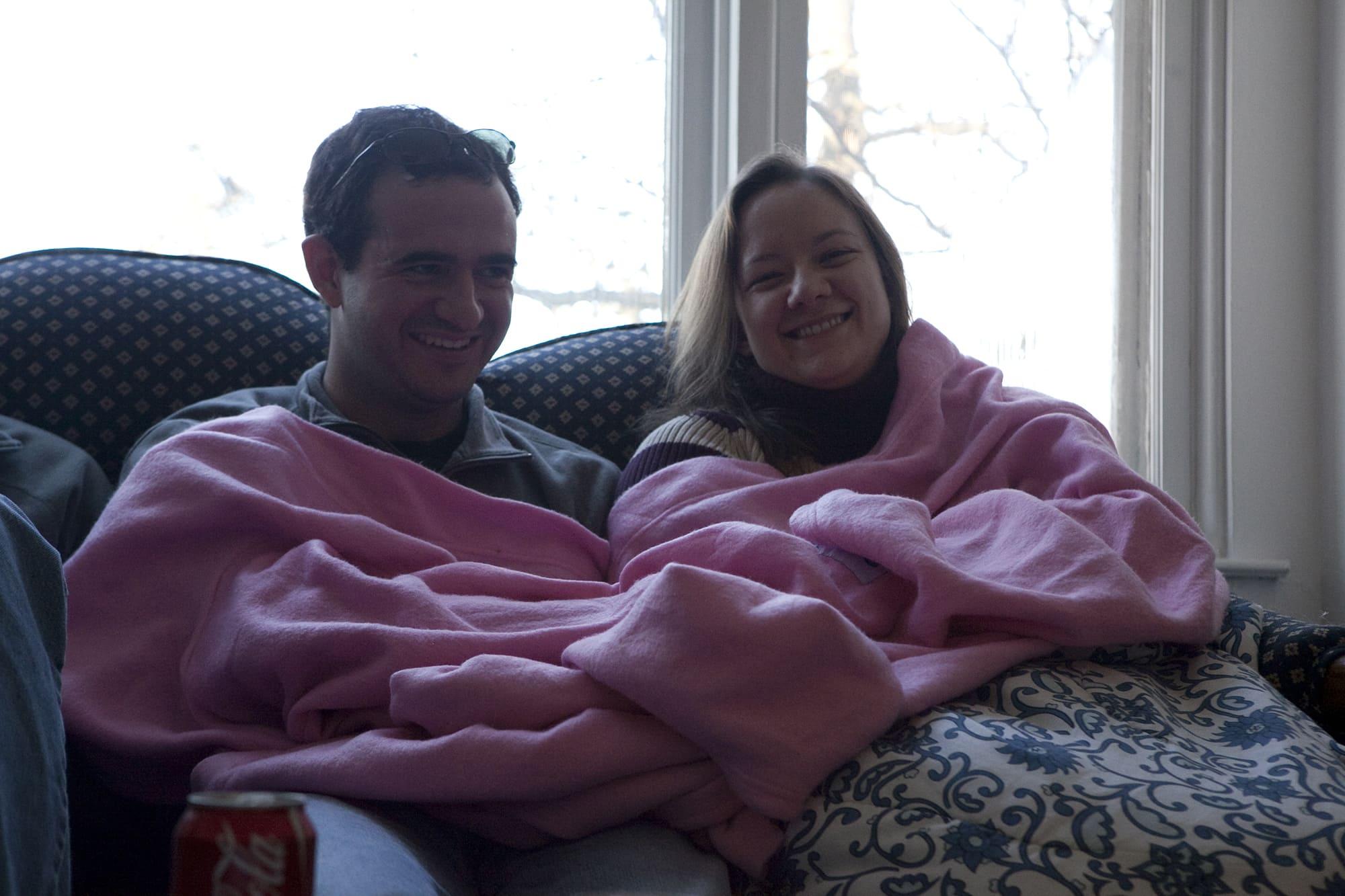 Alina and Joe in a snuggie