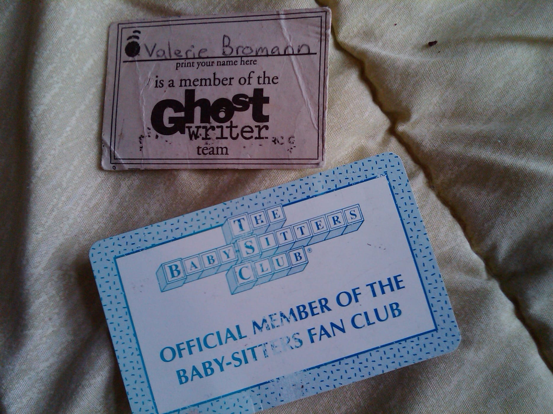 I am a member of the Baby-Sitters Club...and the Ghostwriter Team.