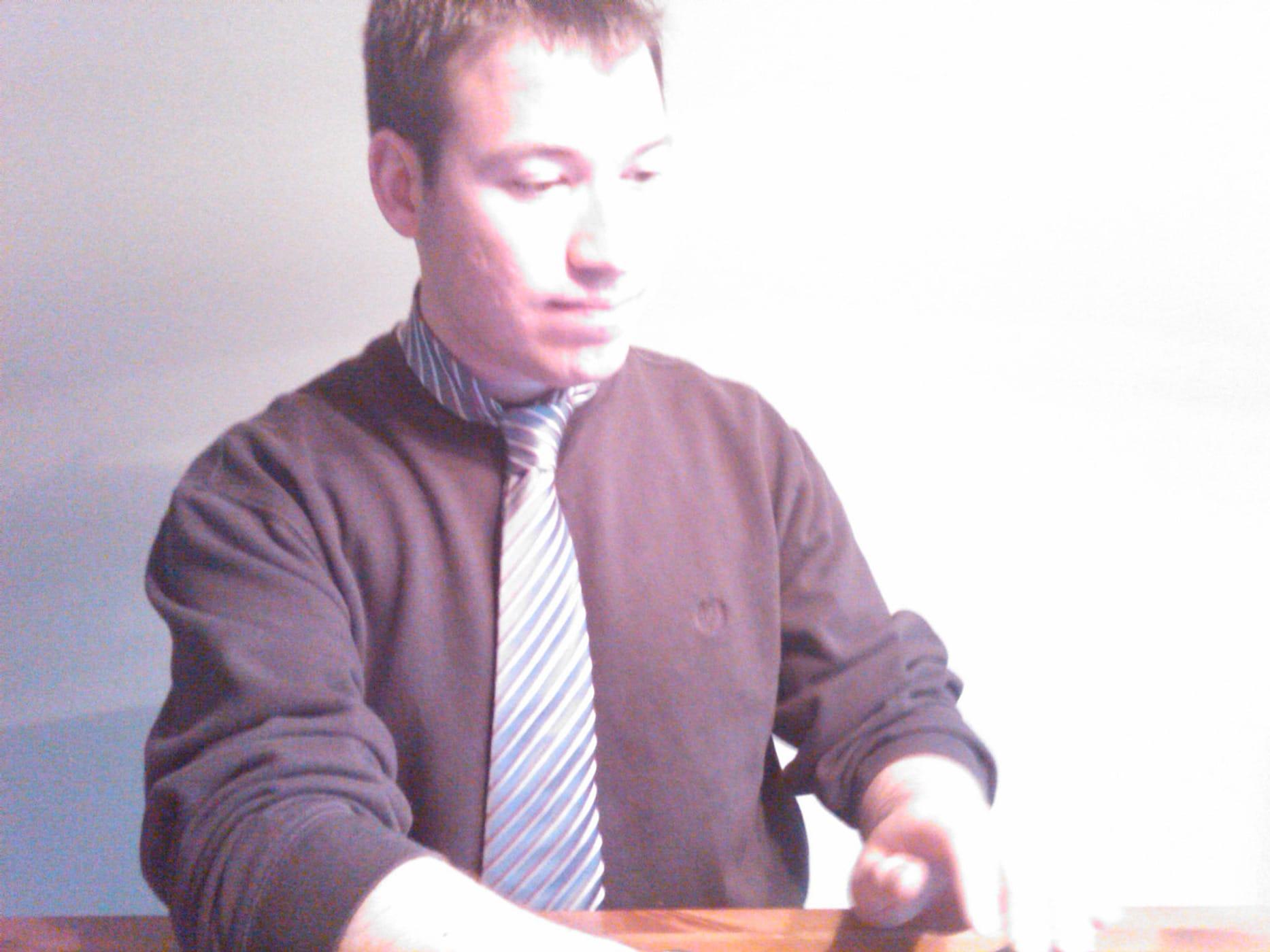My financial planner wears a pink tie