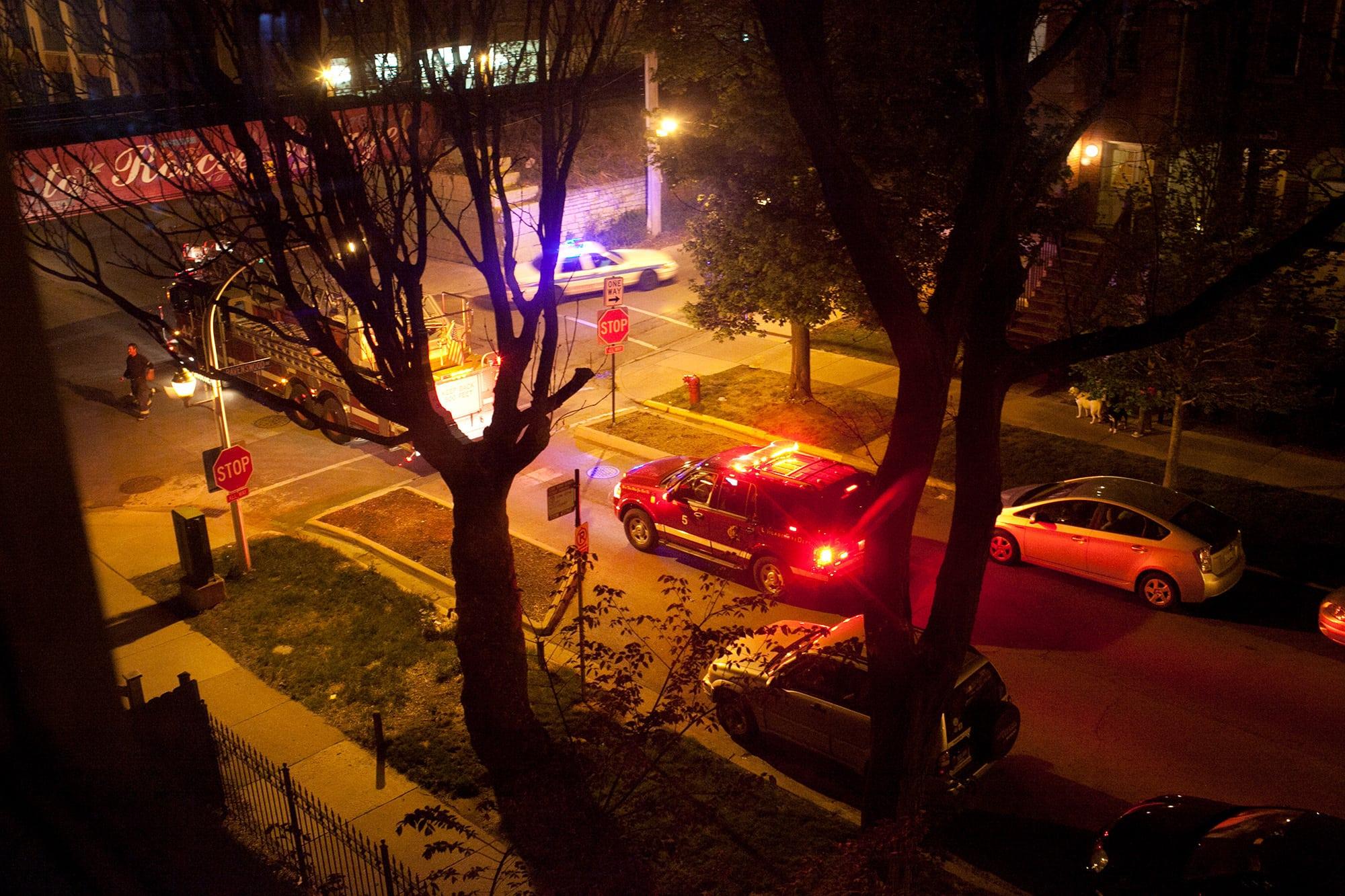 Fire trucks.