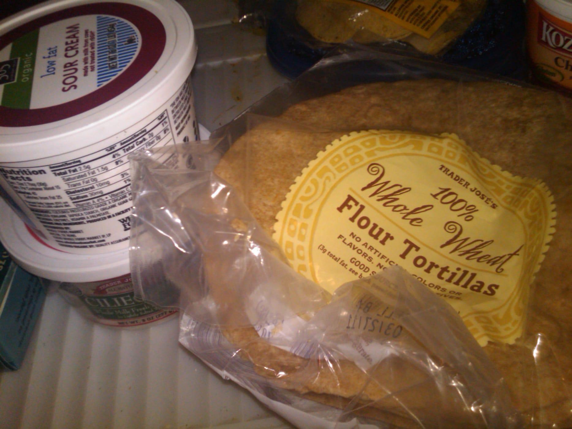Tortillas and sour cream